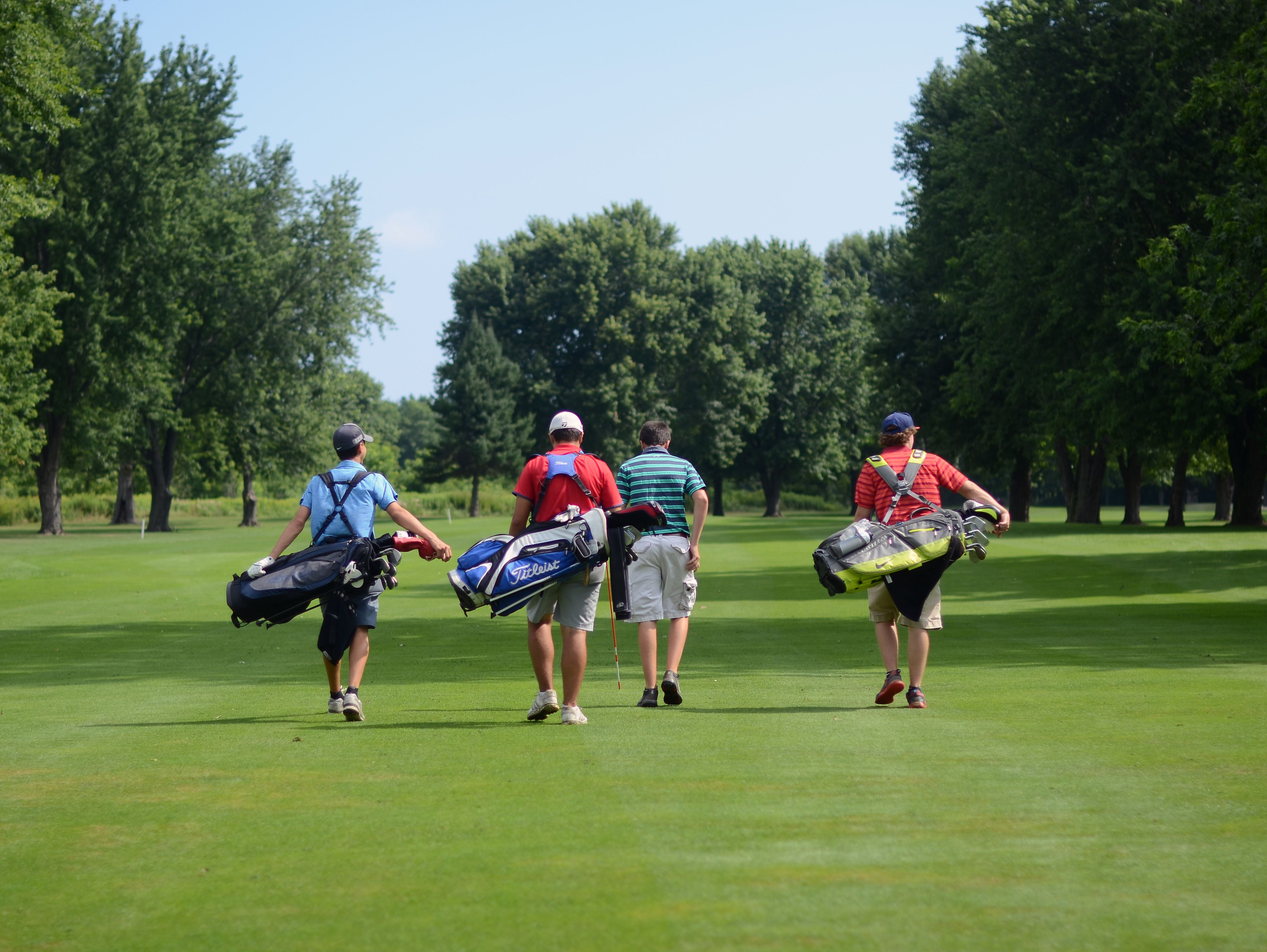 Golfers head down a fairway Monday, Aug 1, during the Tournament of Champions at the Port Huron Elks Golf Course.