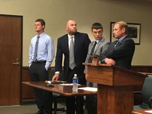 From left, defendant Michael Roth, 17, with his attorney James Sparrow; and Tanner Coolsaet, 18, with his attorney, Edward Holmberg, appear in Woodhaven District Court for their Aug. 15, 2016, preliminary examination on charges of torturing and killing a Guinea pig April 30 on Grosse Ile. (Photo: Robert Allen/ Detroit Free Press)
