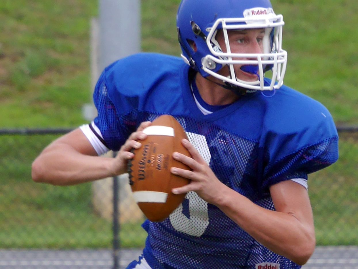 Fort Defiance quarterback #6 Jacob Jones gets ready to throw for a two point conversion during their scrimmage against James River at the Riverheads High School 2016 football jamboree on Aug. 20, 2016.