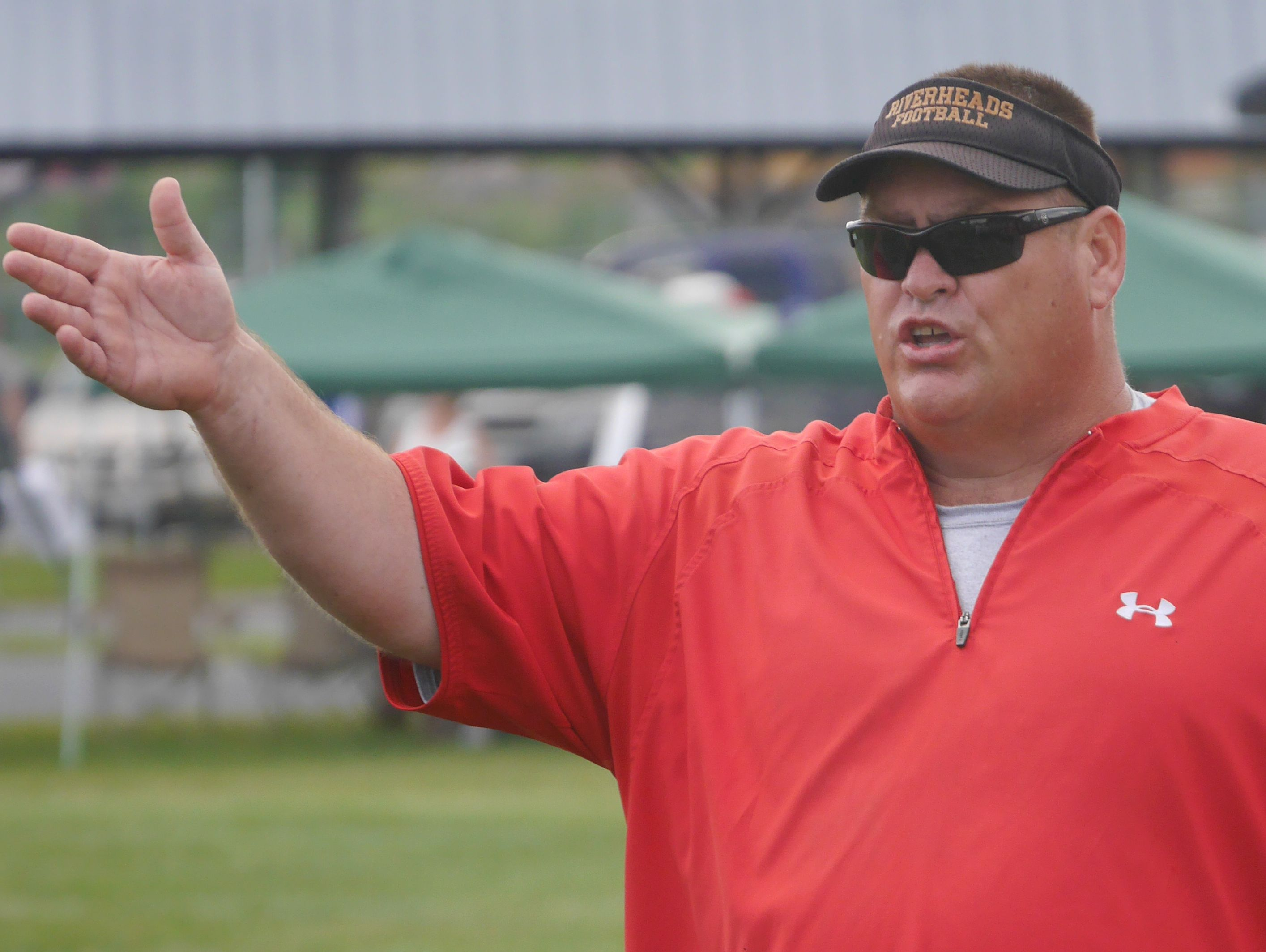 Riverheads High Sshool football head coach Robert Casto during their scrimmage against Appomattox High School in the Riverheads High School 2016 football jamboree on Aug. 20, 2016.