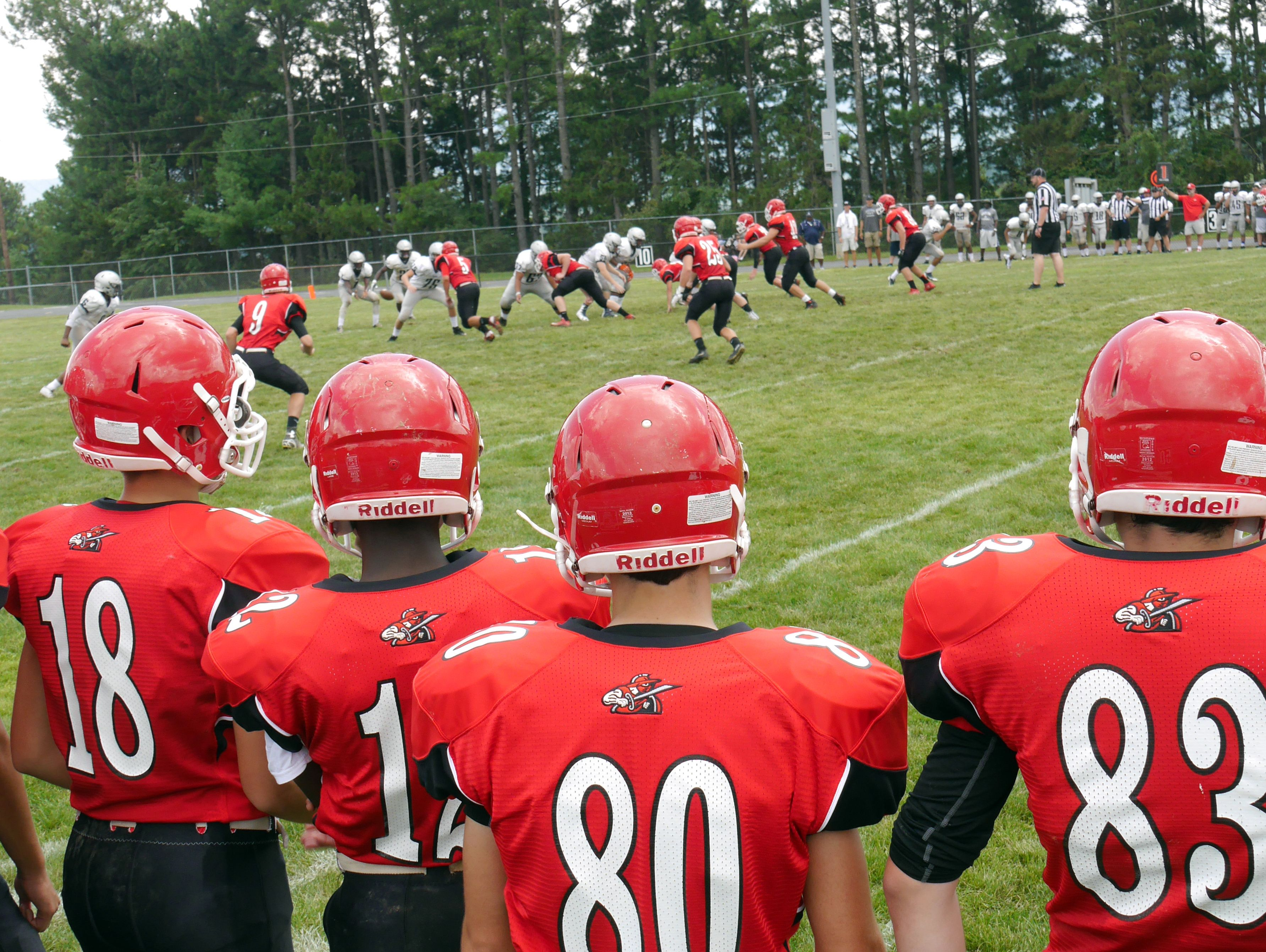 Riverheads players watch from the sidelines during their scrimmage against Appomattox High School in the Riverheads High School 2016 football jamboree on Aug. 20, 2016.