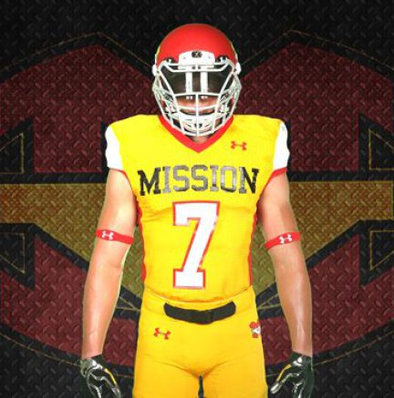 Colin Schooler showing-off one of 28 Mission Viejo's uniform and helmet combinations designed by Under Armour.