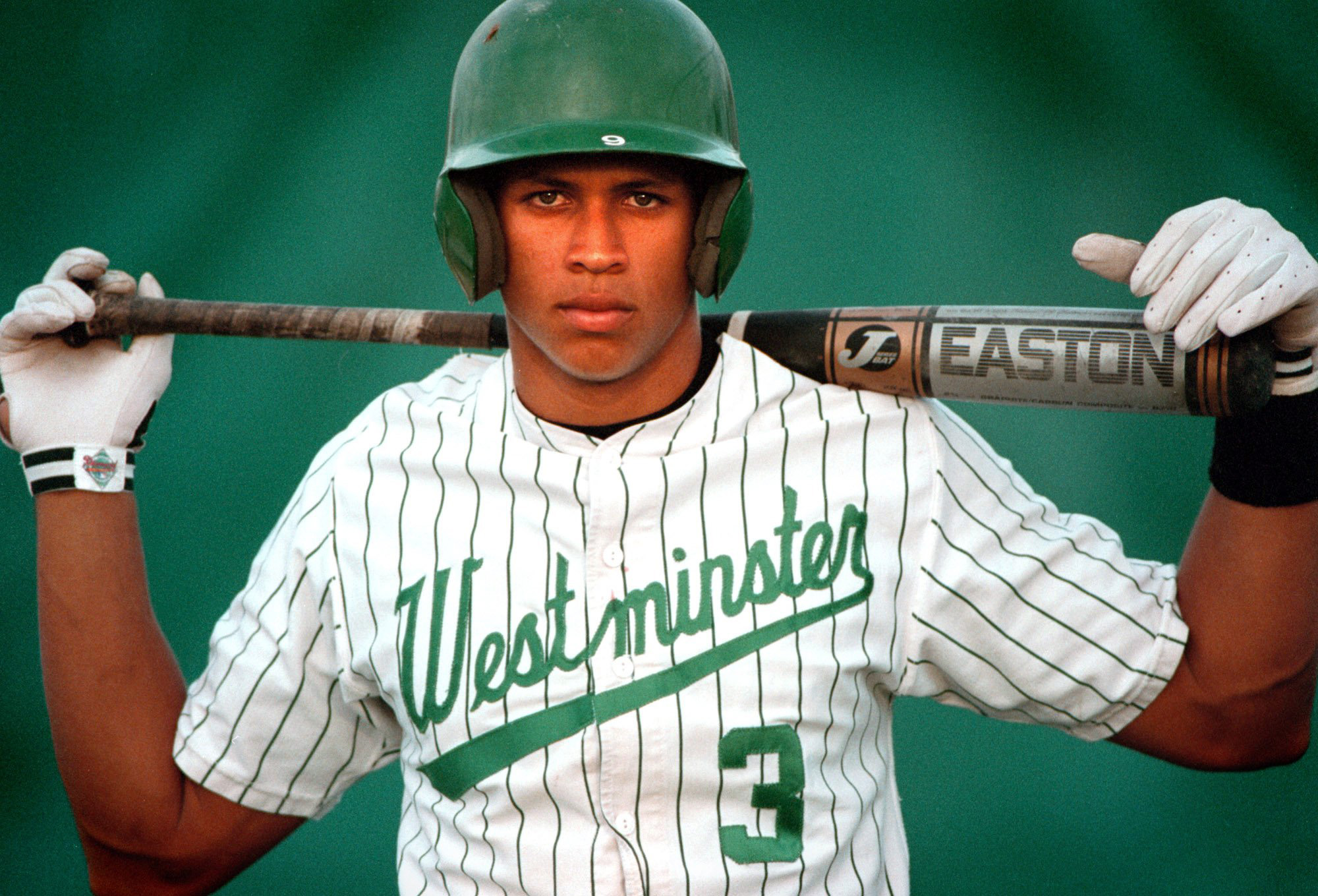 In a 1990s photo, Alex Rodriguez is seen when he played for Westminster Christian high school in Miami. Journalist Selena Roberts makes the case that Rodriguez likely used steroids in high school and may have taken HGH while with the New York Yankees, in her new biography of the MVP. (AP Photo/Miami Herald, David Bergman) ** MAGS OUT ** ORG XMIT: FLMIH501