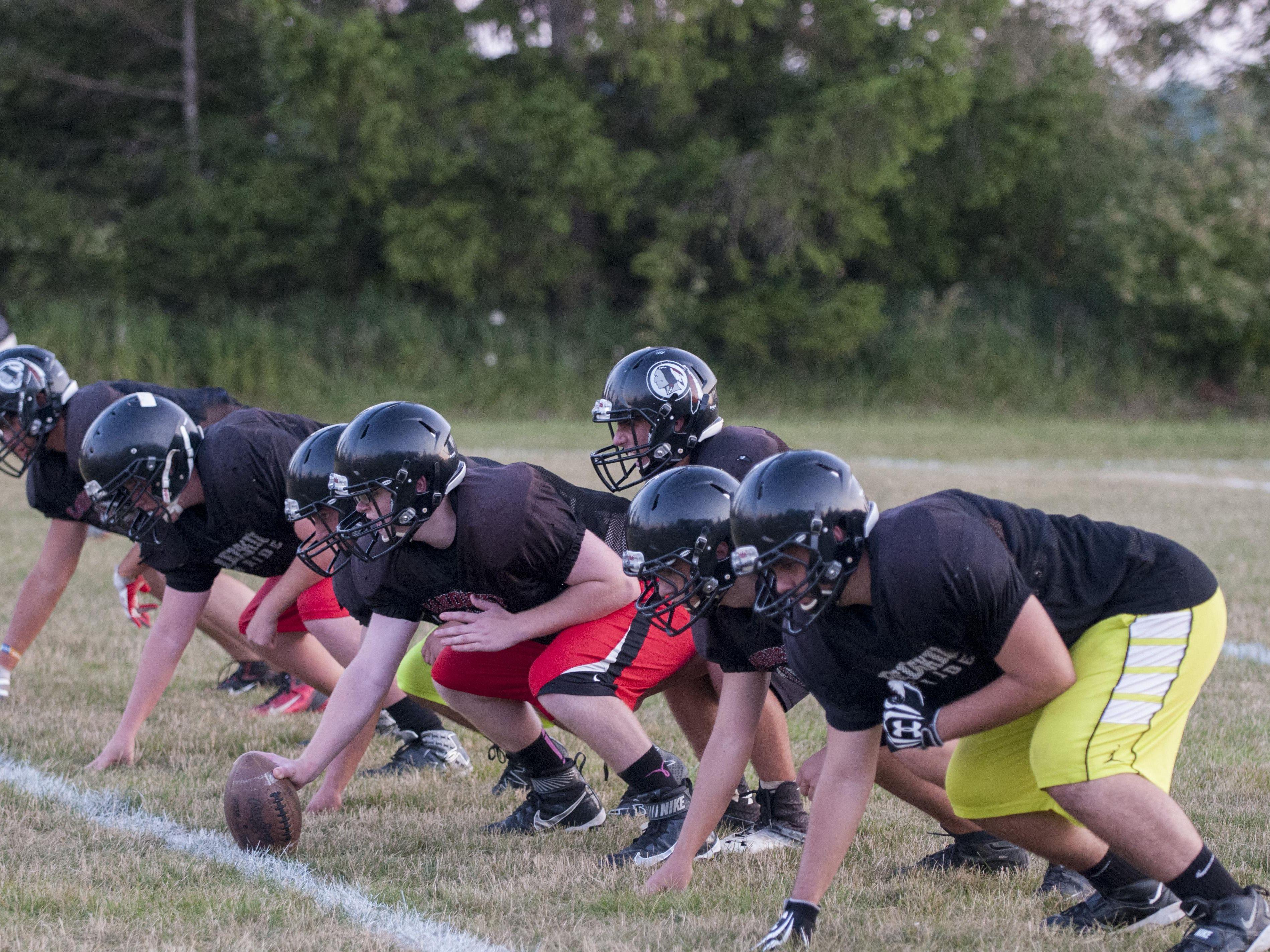 The Sandusky offensive line goes through a drill Wednesday, Aug. 10 2016 at Sandusky High School.