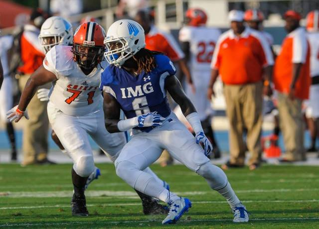 Dylan Moses, considered an elite prospect since he was in the eighth grade, is playing this season at IMG Academy. (Photo: Casey Brooke Lawson/IMG Academy).