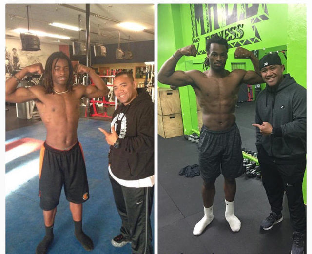 Najee Harris, shown as a 6-1, 192-pound freshman and now as a 6-3, 225-pound senior. His trainer, Marcus Malu, is on the right in both photos. (Photo: Courtest of Marcus Malu).