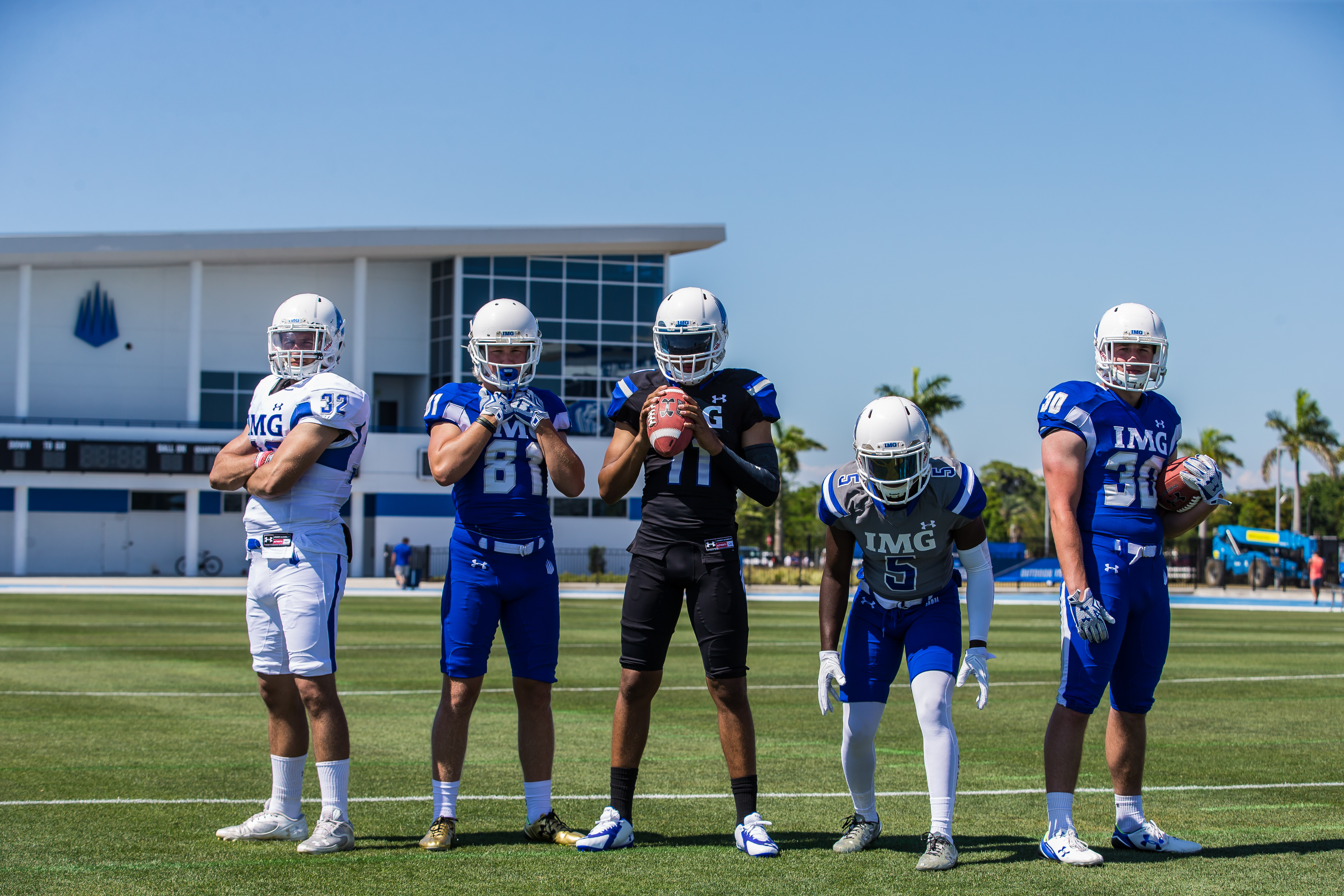 Among the IMG Class of 2017 stars from left: Santino Marchiol, Brock Annexstad, Kellen Mond, Marcus Williamson and Christian Pluchino (Photo: Casey Brooke Lawson, IMG Academy)