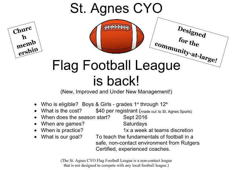 The St. Agnes CYO Flag Football League claimed not to be in competition with Clark Pop Warner. (Facebook)