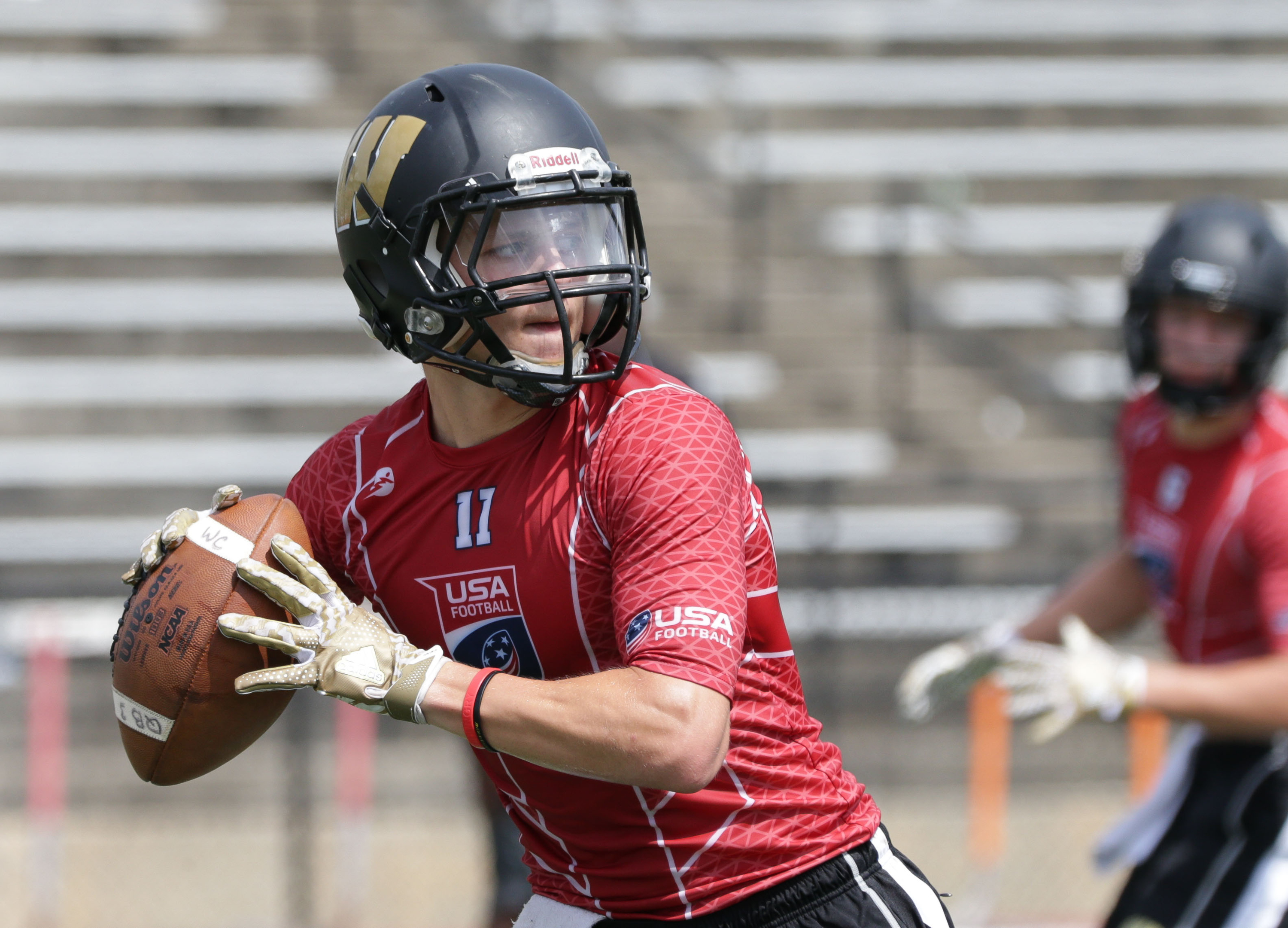 Jul 16, 2016; Hoover, AL, U.S.A -- Warren Central quarterback Zach Summeier during the USA Football 7on7 National Championship -- Photo by Marvin Gentry USA TODAY Sports Images, Gannett ORG XMIT: US 135185 7on7 7/15/2016 [Via MerlinFTP Drop]