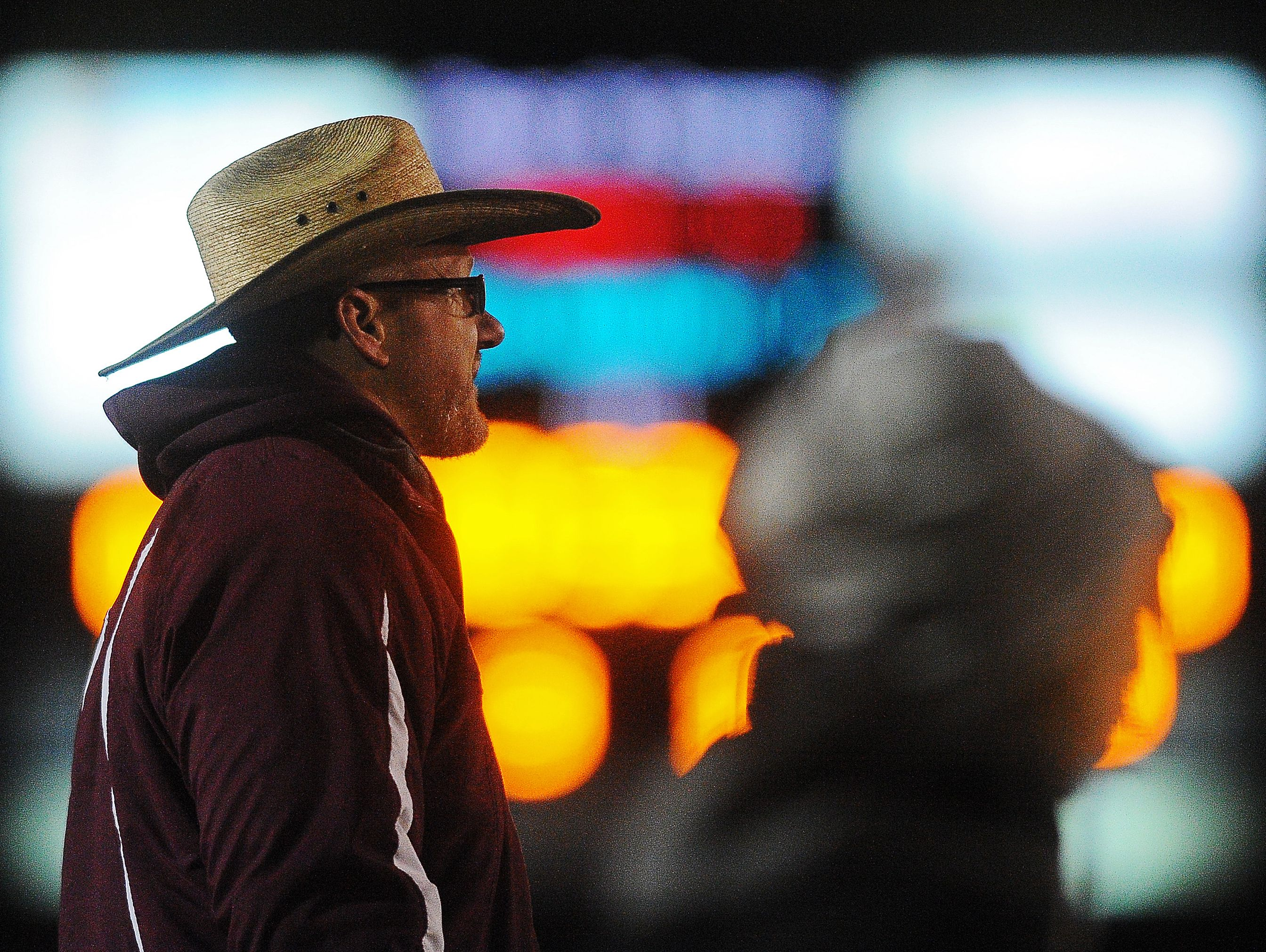 Madison head coach Max Hodgen looks on during a game against Sioux Falls Christian Friday, Nov. 6, 2015, at Trojan Field on the Dakota State University campus in Madison, S.D.