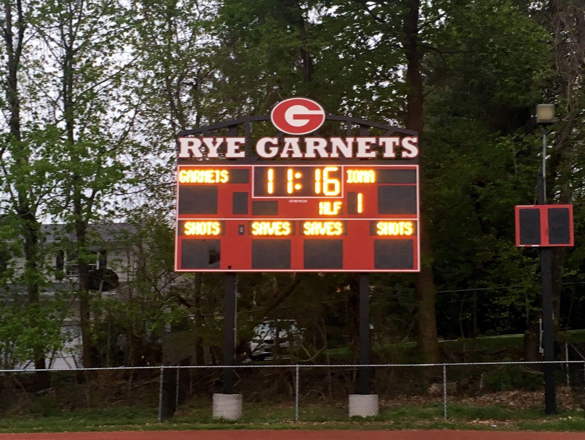 Rye High School scoreboard.