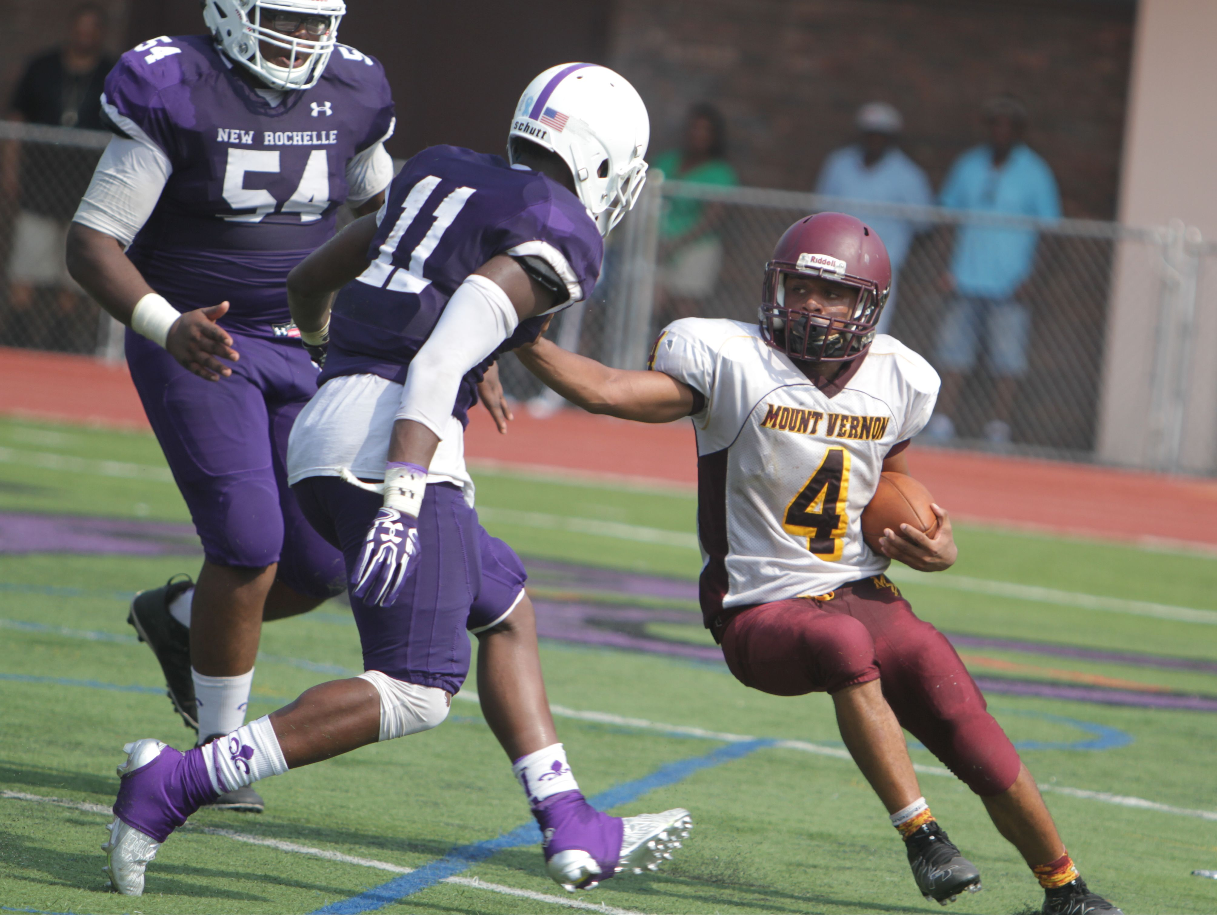 Action during a Section 1, Class AA football game between New Rochelle and Mount Vernon at New Rochelle High School on Sept. 10th, 2016. New Rochelle won 40-6.
