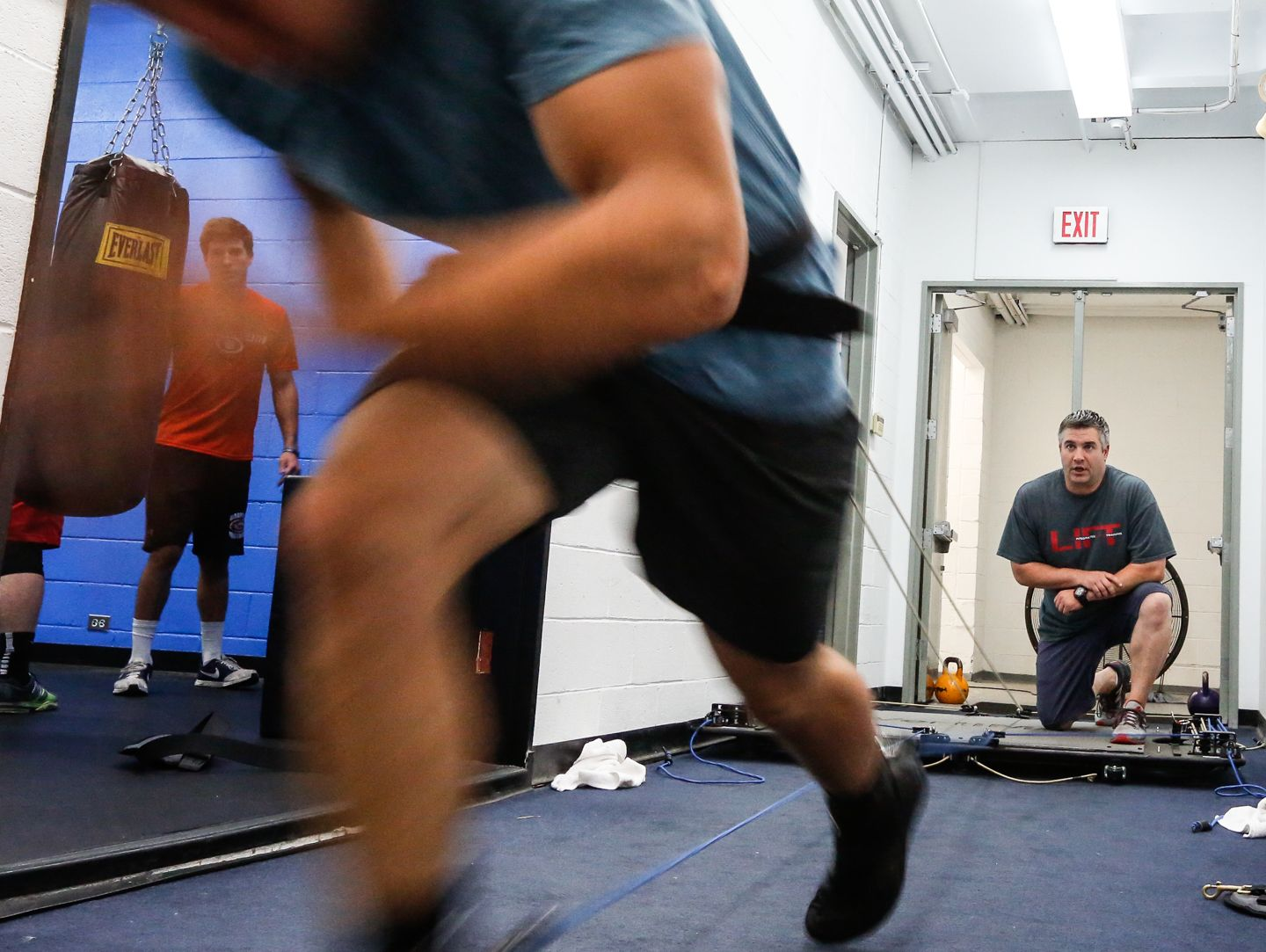 Matt Tauber, right, runs high school and college athletes through a work out at LIFT on the campus of SUNY Purchase in Purchase on Tuesday, June 07, 2016.