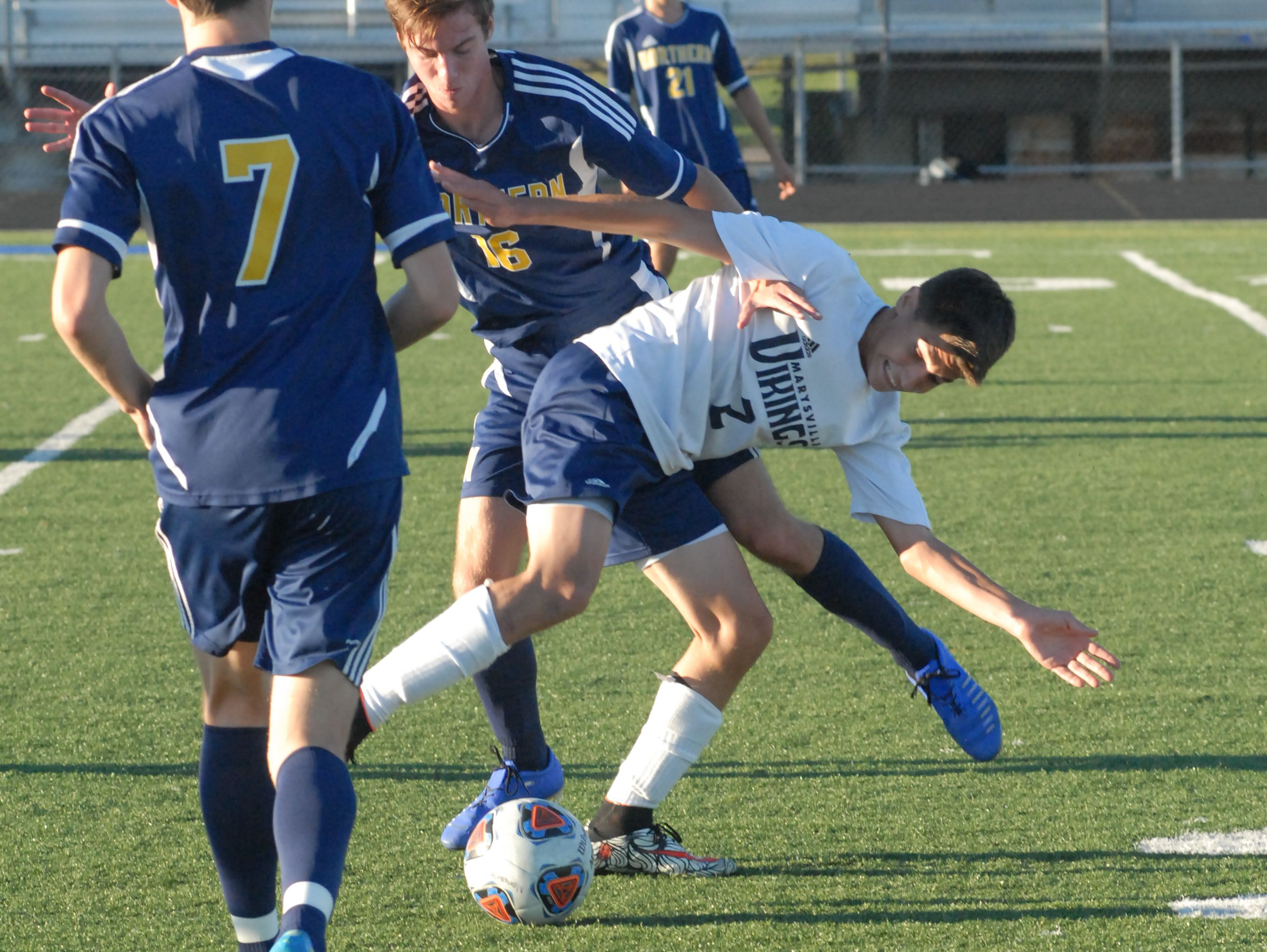 Port Huron Northern's Kurtis Obermyer and Marysville's Marshal DiGiovanni fight for the ball in the first half of the Vikings 2-1 win on Sept. 14, 2016.