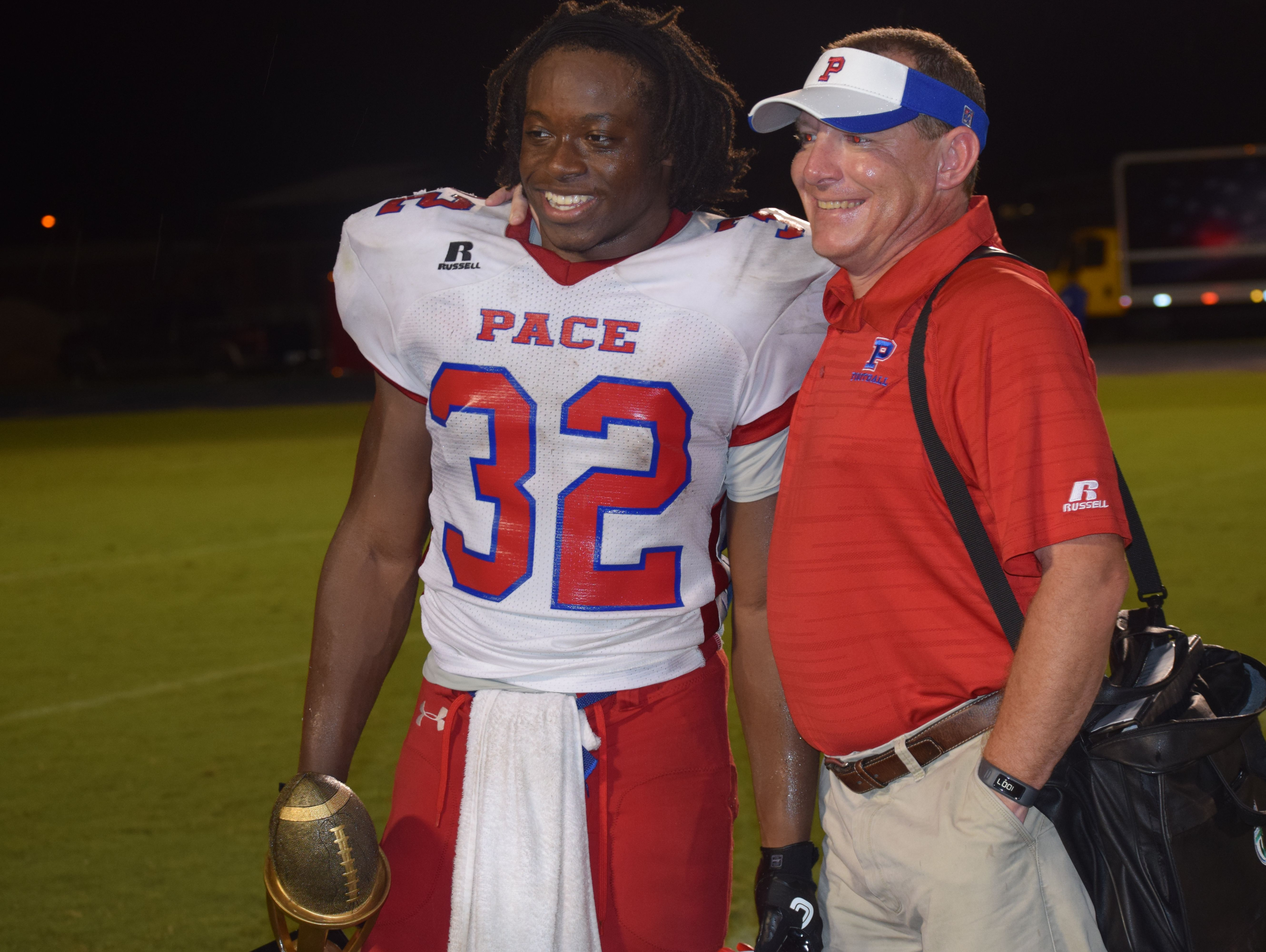 Anthony Johnson was all smiles after the game getting the WFGX-TV Friday Night Rivals game of week award.