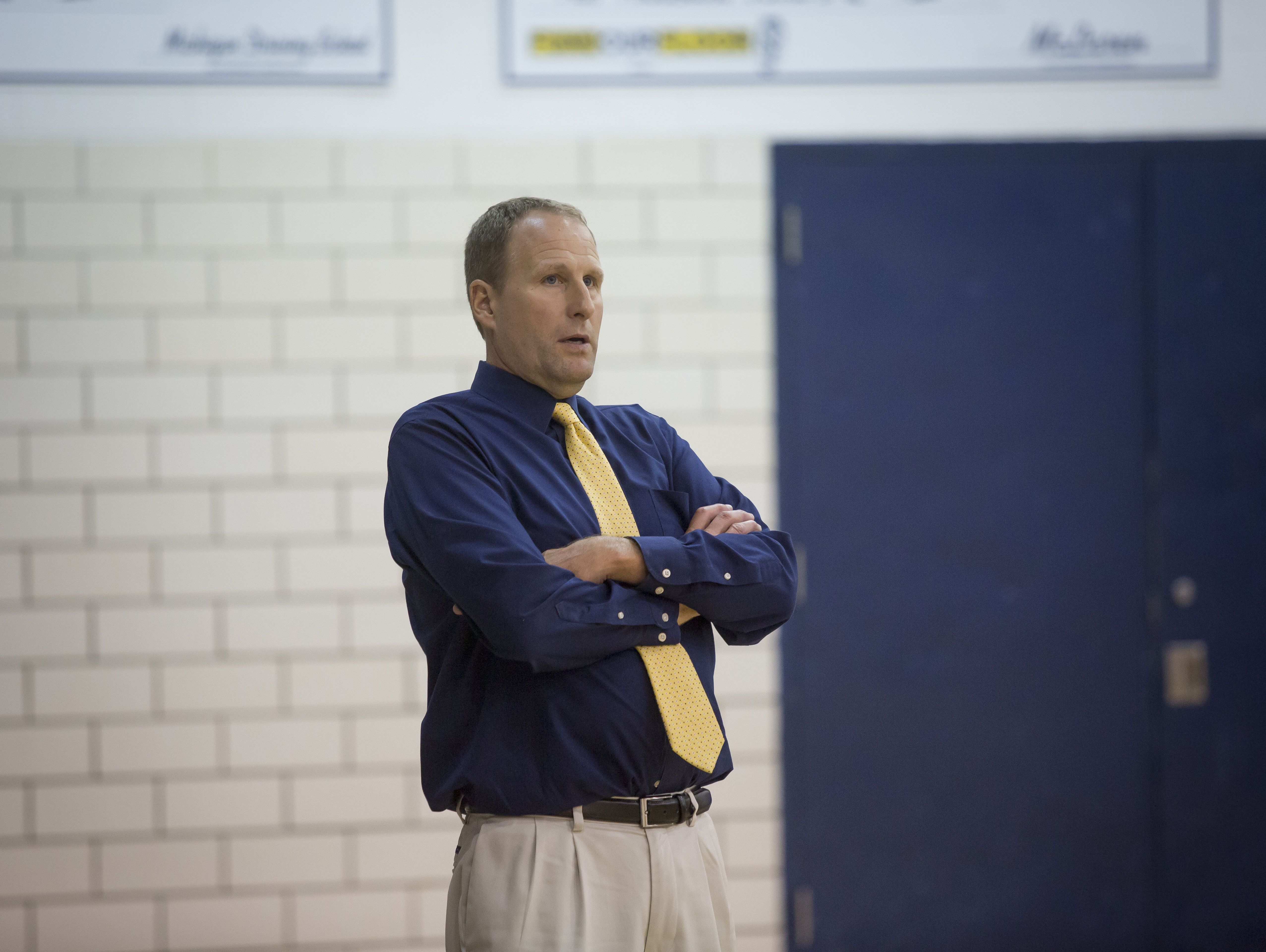 Port Huron Northern coach Tim Langolf watches the action during their 0-3 loss to L'Anse Creuse North Tuesday, September 27, 2016 at Port Huron Northern High School.