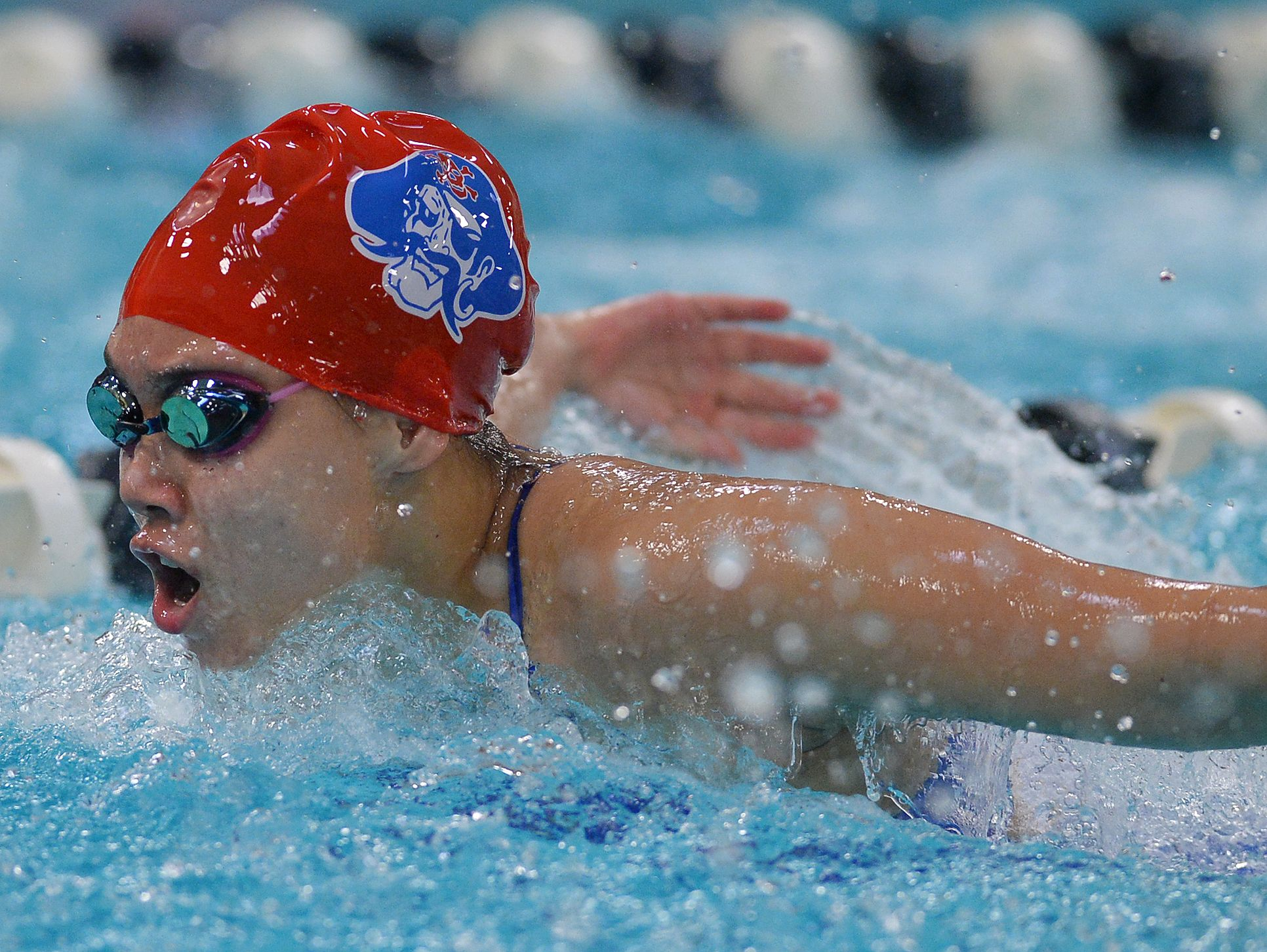 Fairport's Grace Chen swims the 100 yard butterfly during regular season meet at Pittsford Mendon High School on Tuesday, Sept. 27, 2016.