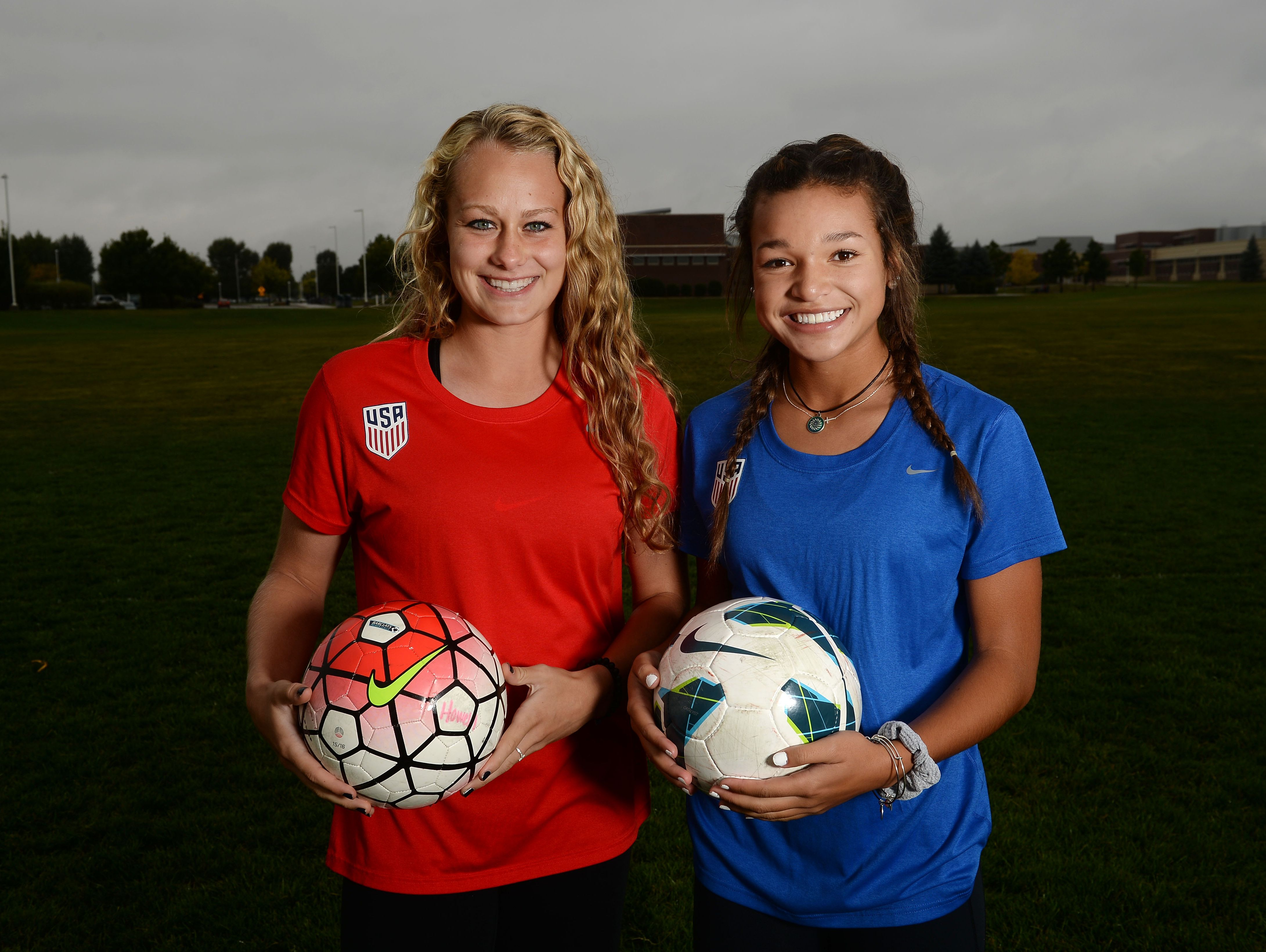 Fossil Ridge's Jaelin Howell, left, and Sophia Smith will represent the U.S. in the Under-17 Women's World Cup. They have been chosen as two of the best 21 players in the nation at their age.