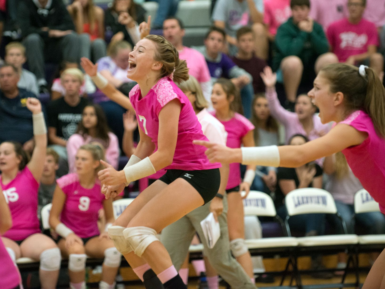 Lakeview's Emma Morey celebrates winning the first set against Mattawan on Wednesday.