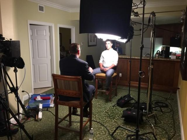 Outside the Lines reporter John Barr interviews a hazing victim (Photo: ESPN Outside the Lines)