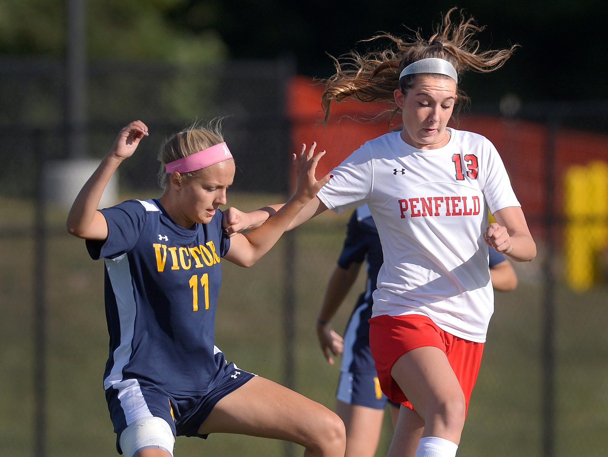 Penfield and Bre McGrath, right, host No. 1 Fairport at 6:30 p.m. Friday in a matchup of teams ranked in the D&C Large-School Girls Soccer Coaches' Poll. Fairport is No. 1; the Patriots are No. 7.