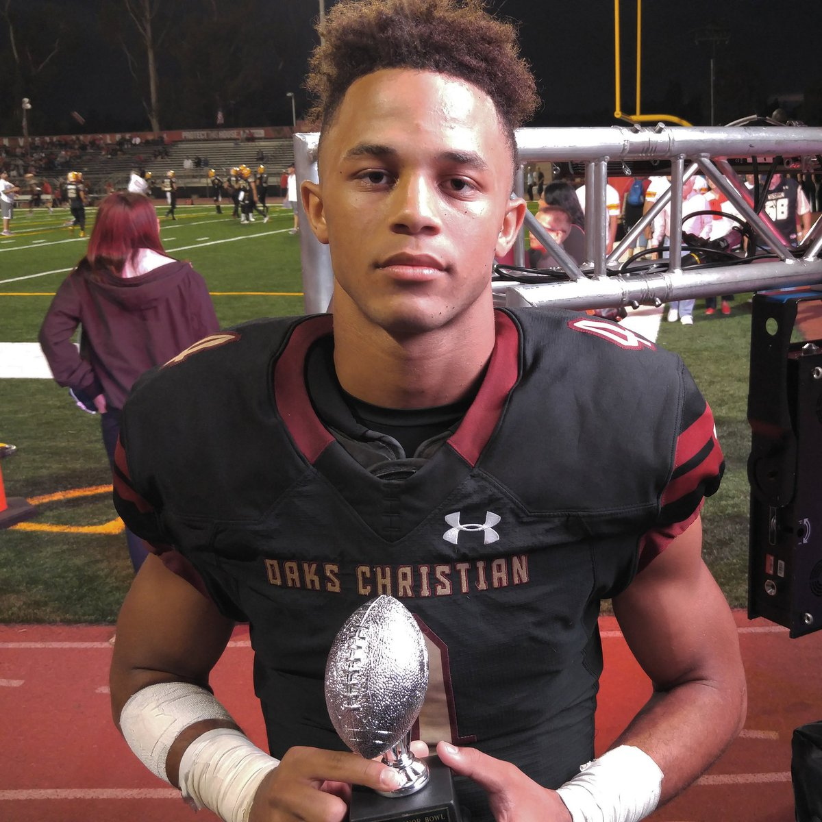 Oaks Christian wide receiver Mycah Pittman set a school record on Friday, then received his first scholarship offer from USC Monday (Photo: Twitter)