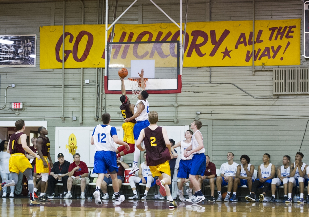 """First half of action. The Historic Hoosier Gym Committee of Knightstown, Ind., Hoosier Basketball Magazine and Pacesetter Sports of Terre Haute, hosted the 11th annual """"Hoosiers"""" Reunion All-Star Classic Friday, June 3, 2016."""