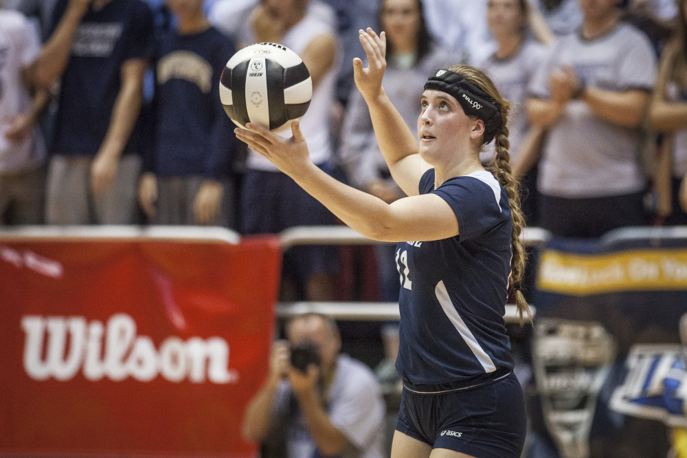 Marissa Hornung goes to serve during last year's state final at Worthen Arena.