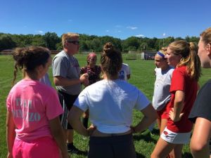 North Rockland girls soccer head coach Pete McGovern talks to his team during practice. Aug. 23, 2016. (Photo: Mike Zacchio/The Journal News)