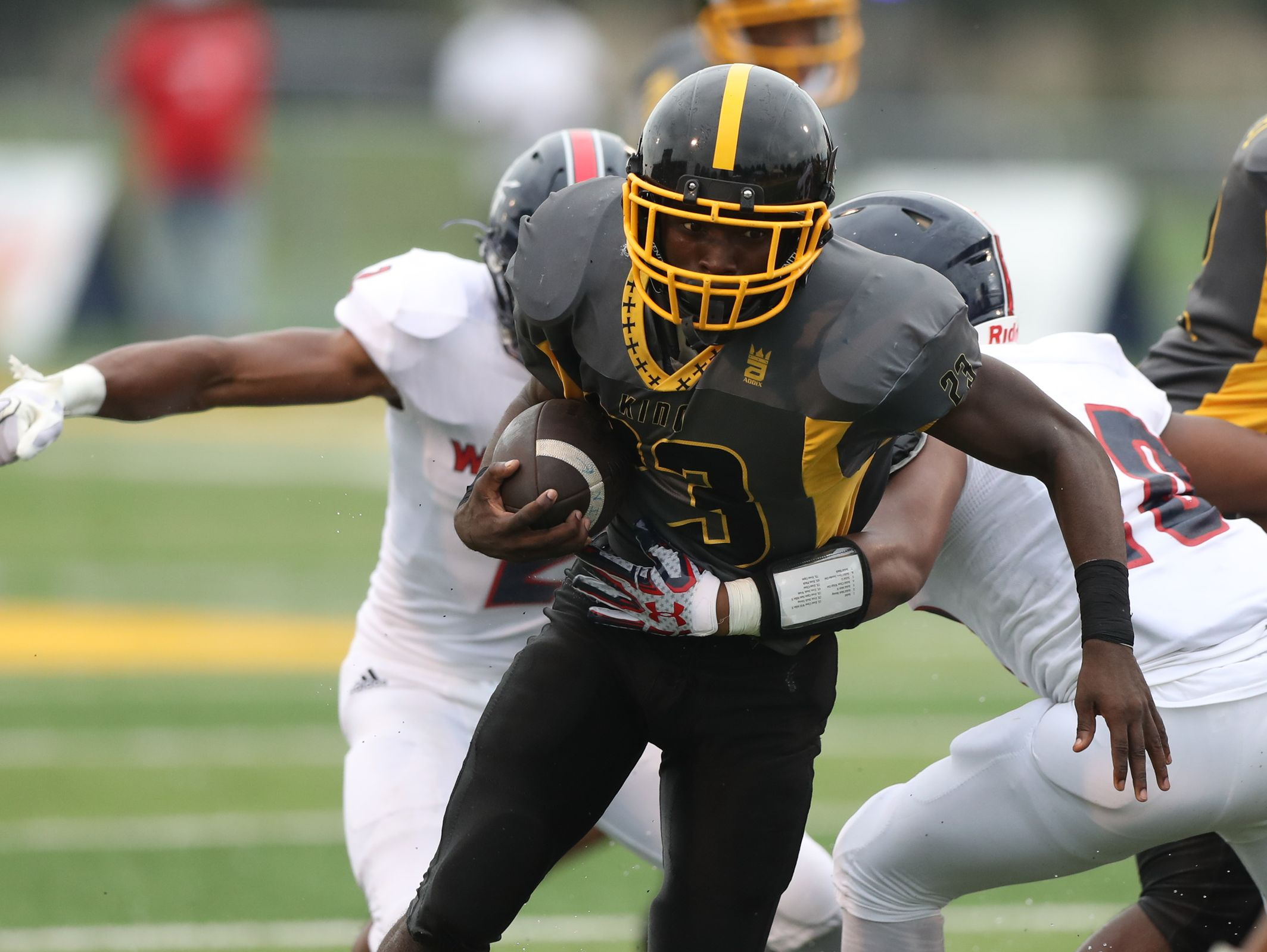 Detroit King's high schools Kevin Willis runs the ball against Southfield A&T high school during first half action of the Prep Kickoff Classic game Saturday, August 27, 2016 at Wayne State University in Detroit MI. Kirthmon F. Dozier/Detroit Free Press