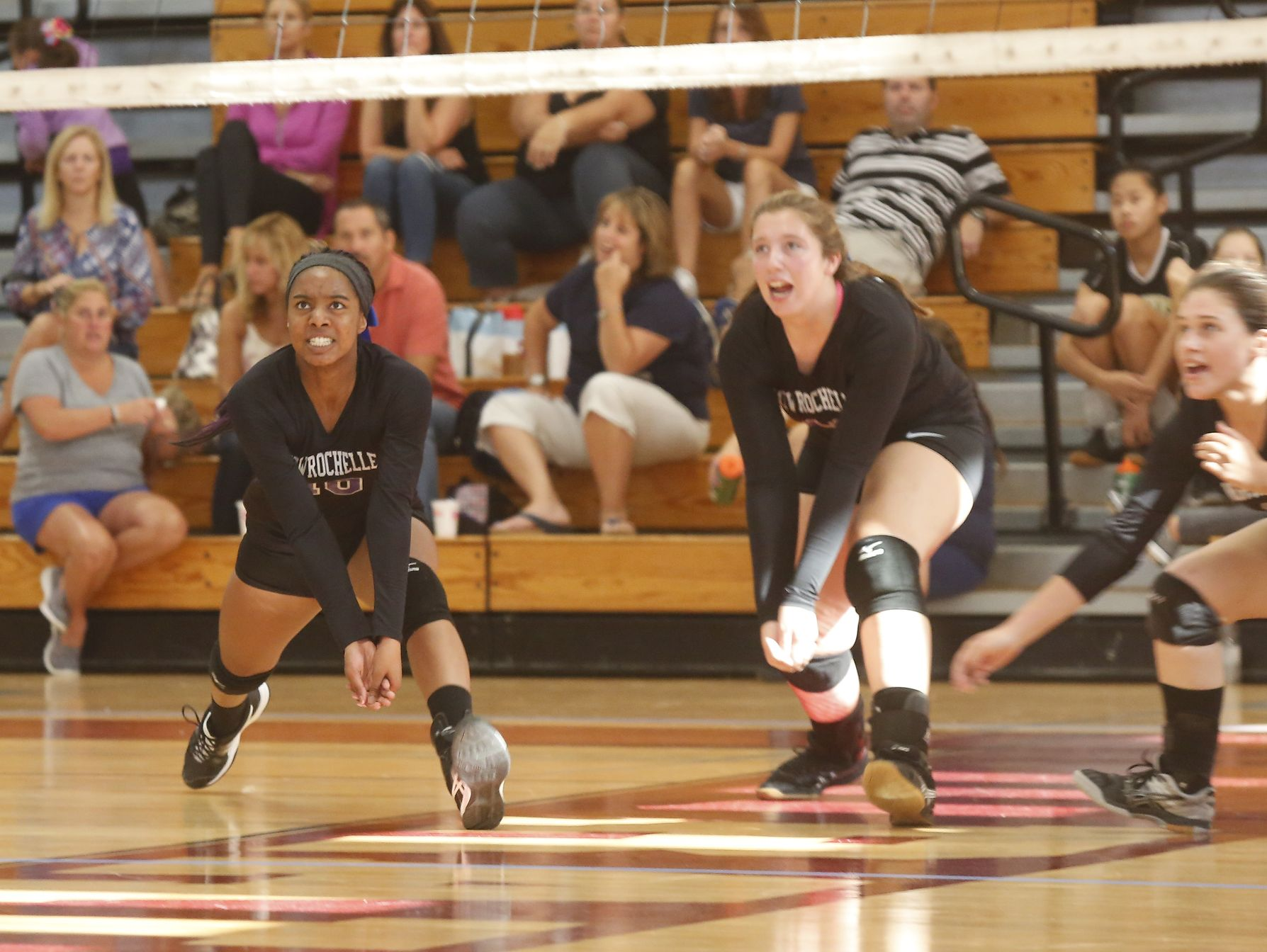 New Rochelle takes on Eastchester during the Scarsdale volleyball tournament at Scarsdale High School on Saturday, September 17, 2016.