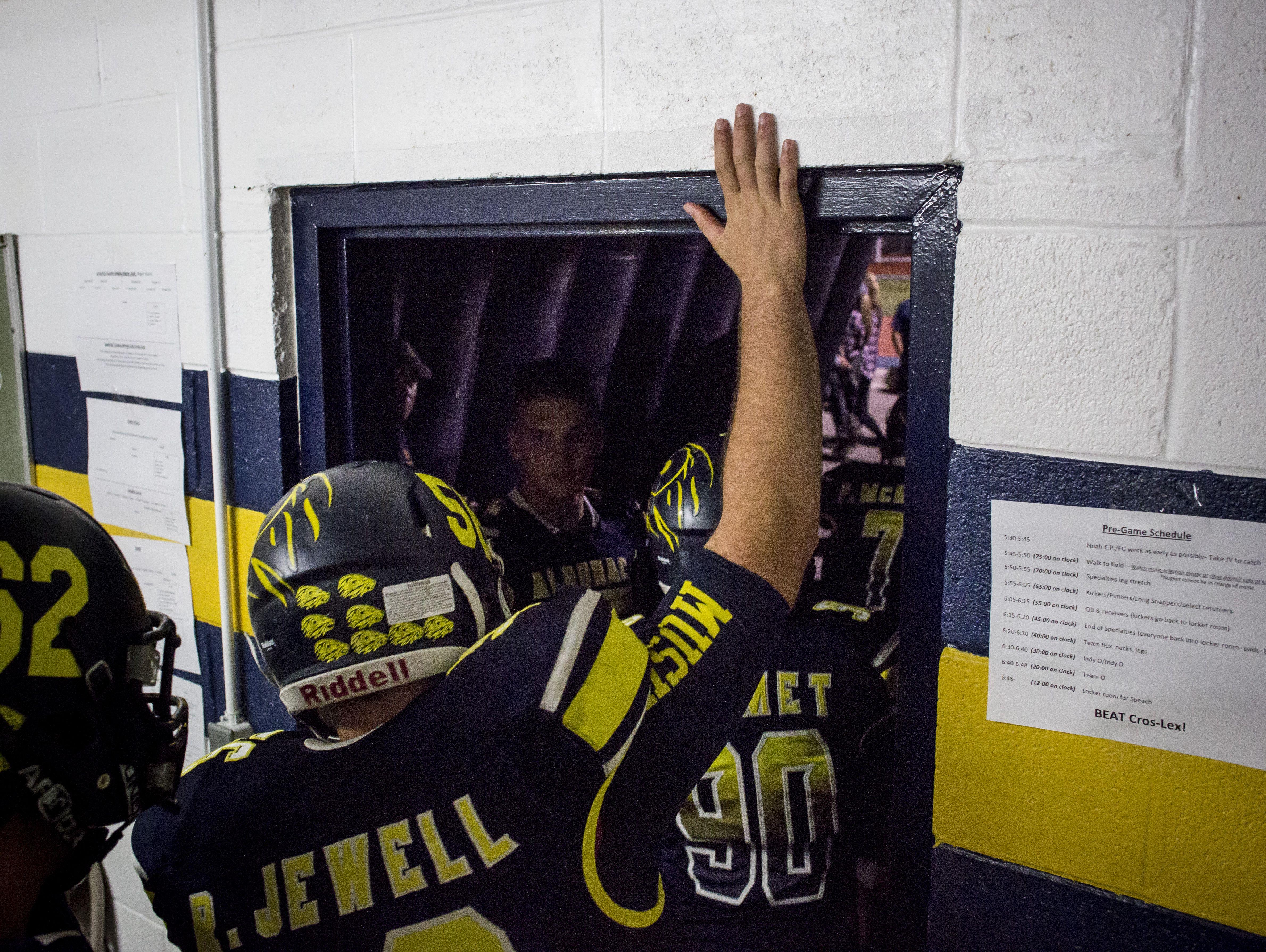 Algonac players leave the locker room during a football game Friday, September 23, 2016 at Algonac High School.