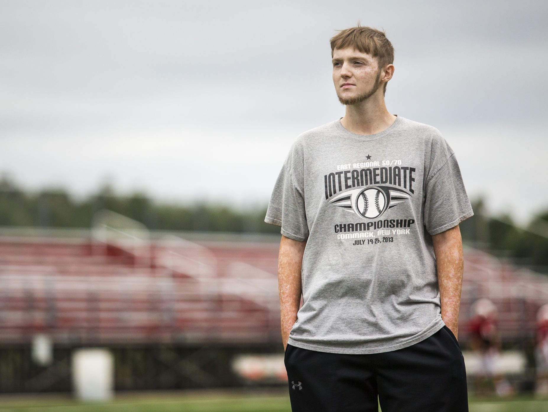 Colby Atkinson looks out over the field as members of the Smyrna High School football team practice last week.
