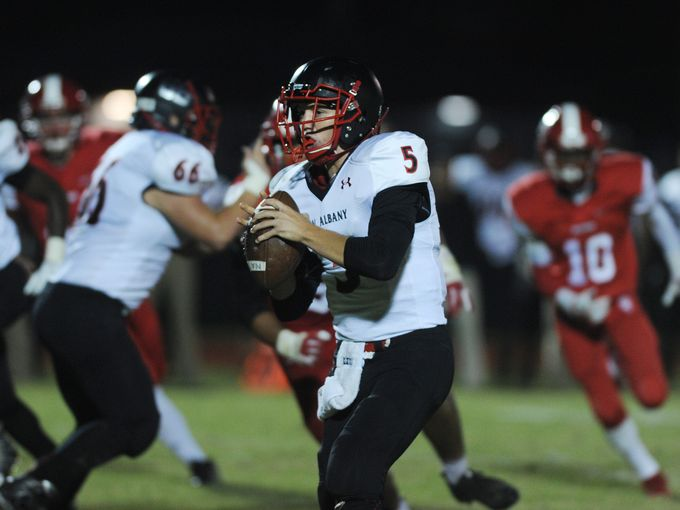 New Albany's Dylan Clark looks for a receiver Friday night against Jeffersonville.