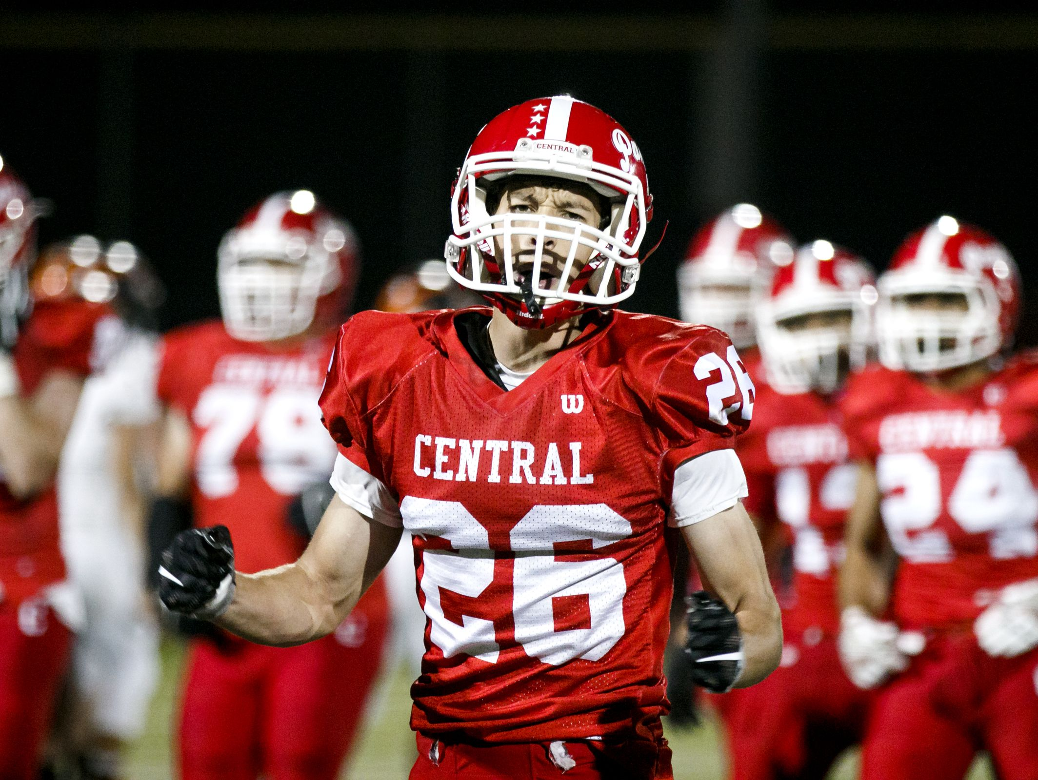 Central's Peter Mason cheers after the team scores another touchdown in a game against Dallas on Friday, Sept. 30, 2016, at Central High School in Independence. Central won the game 21-20.