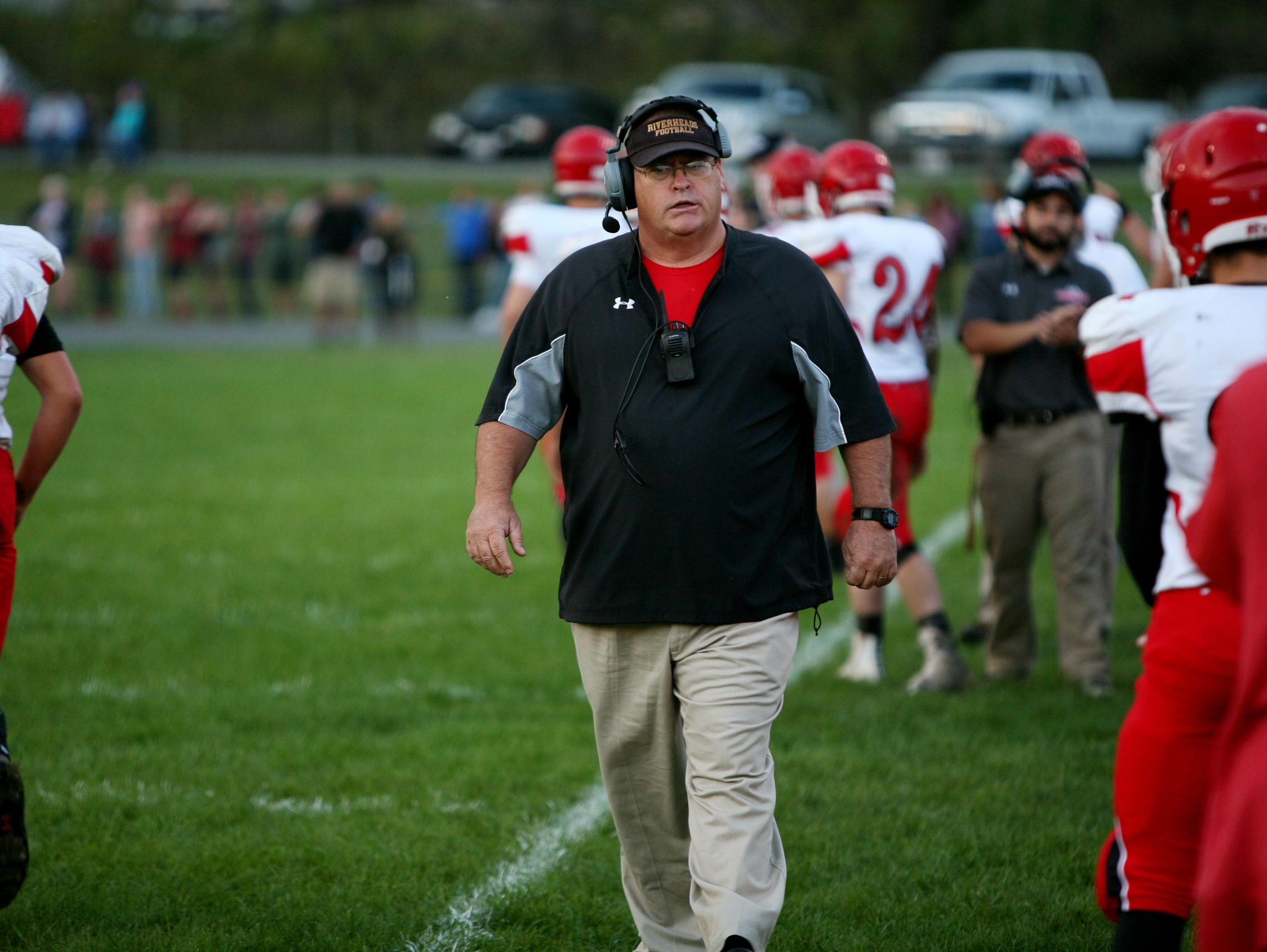 Riverhead's head coach Robert Casto during the game at Buffalo Gap on Saturday, Oct. 1, 2016.