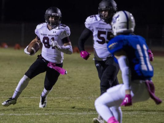 Desert Mountain senior WR Kade Warner entered the state record book for career catches after grabbing eight passes in an overtime loss to Pinnacle. (Photo: Sean Logan, azcentral sports)