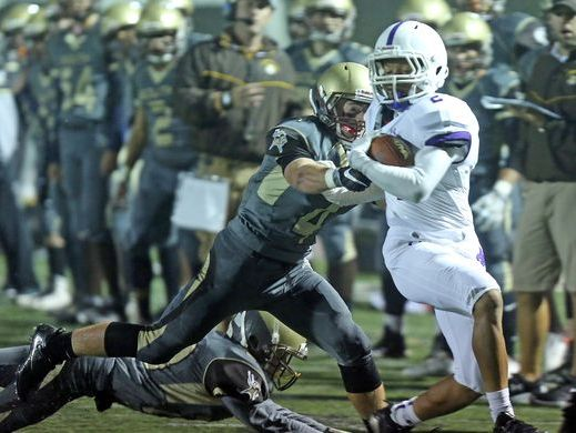 Romeo Holden scored four touchdowns during New Rochelle's 39-18 win at Clarkstown South High School on Sept. 30, 2016.