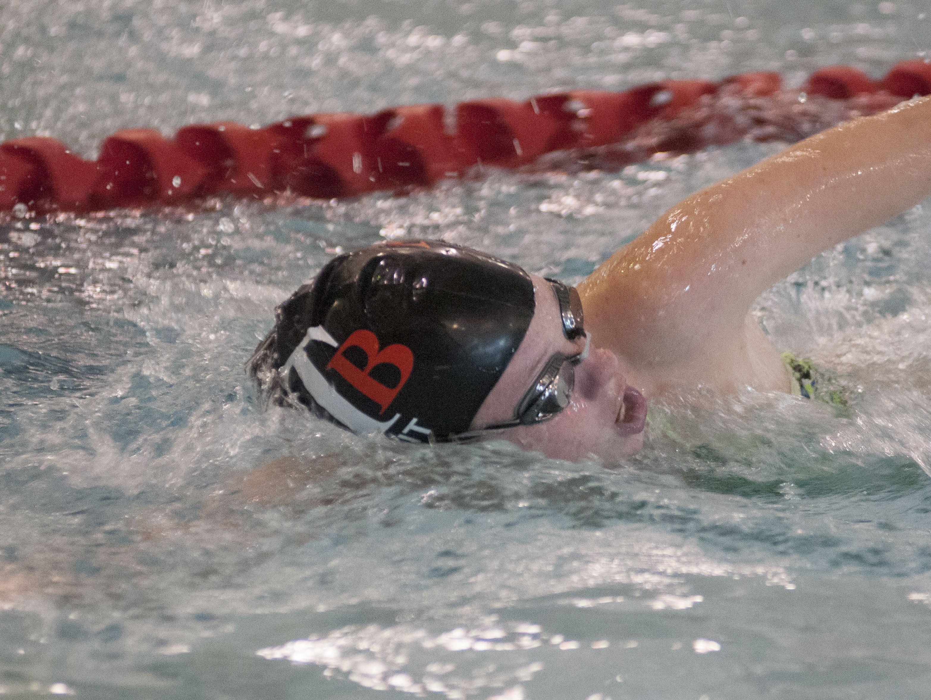 Riley Petit of Algonac swims laps Monday, Oct. 3, during swim practice at the Anchor Bay Aquatic Center.