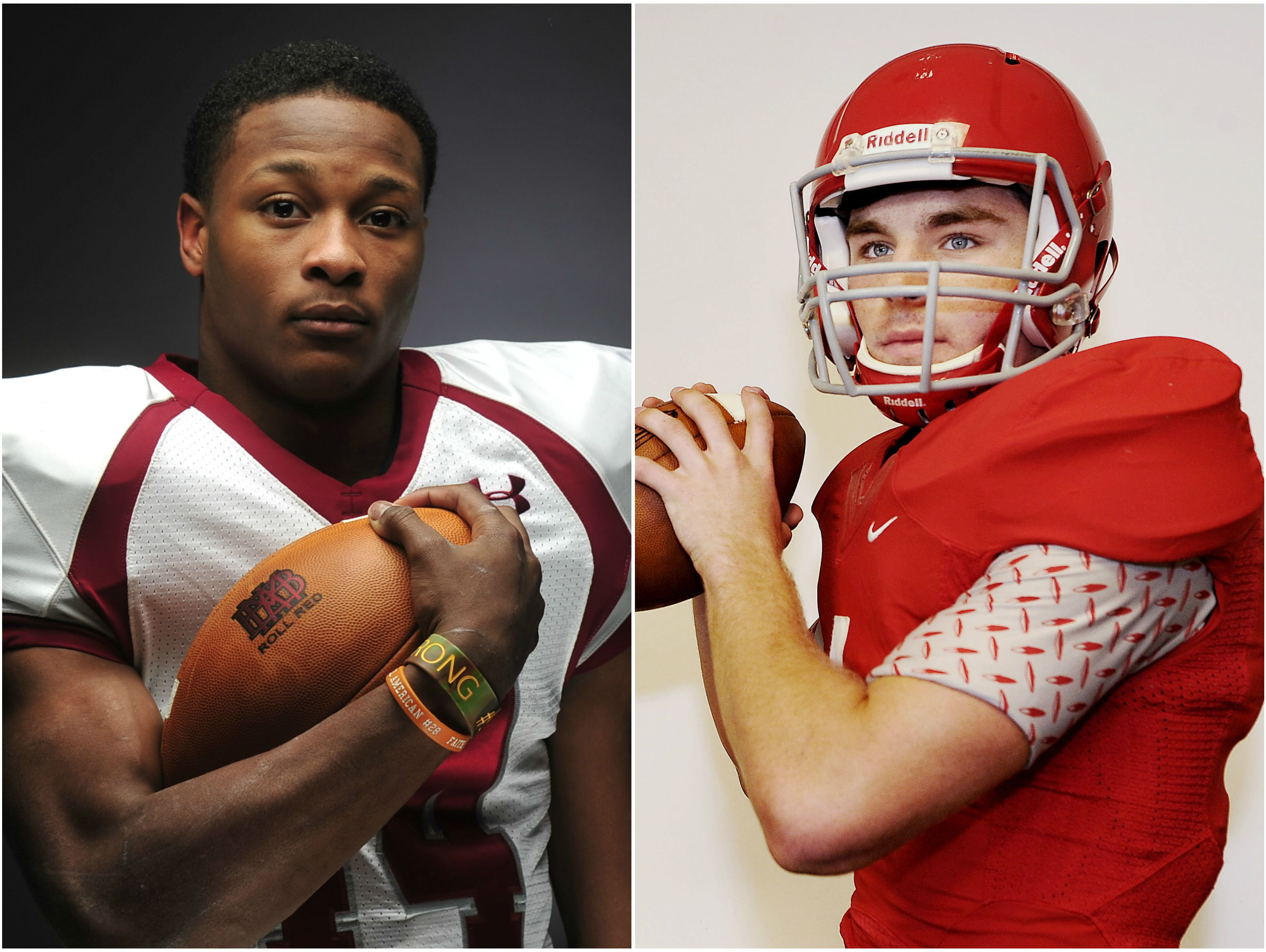 Montgomery Bell Academy running back Ty Chandler (left) and Brentwood Academy quarterback Jeremiah Oatsvall (left)