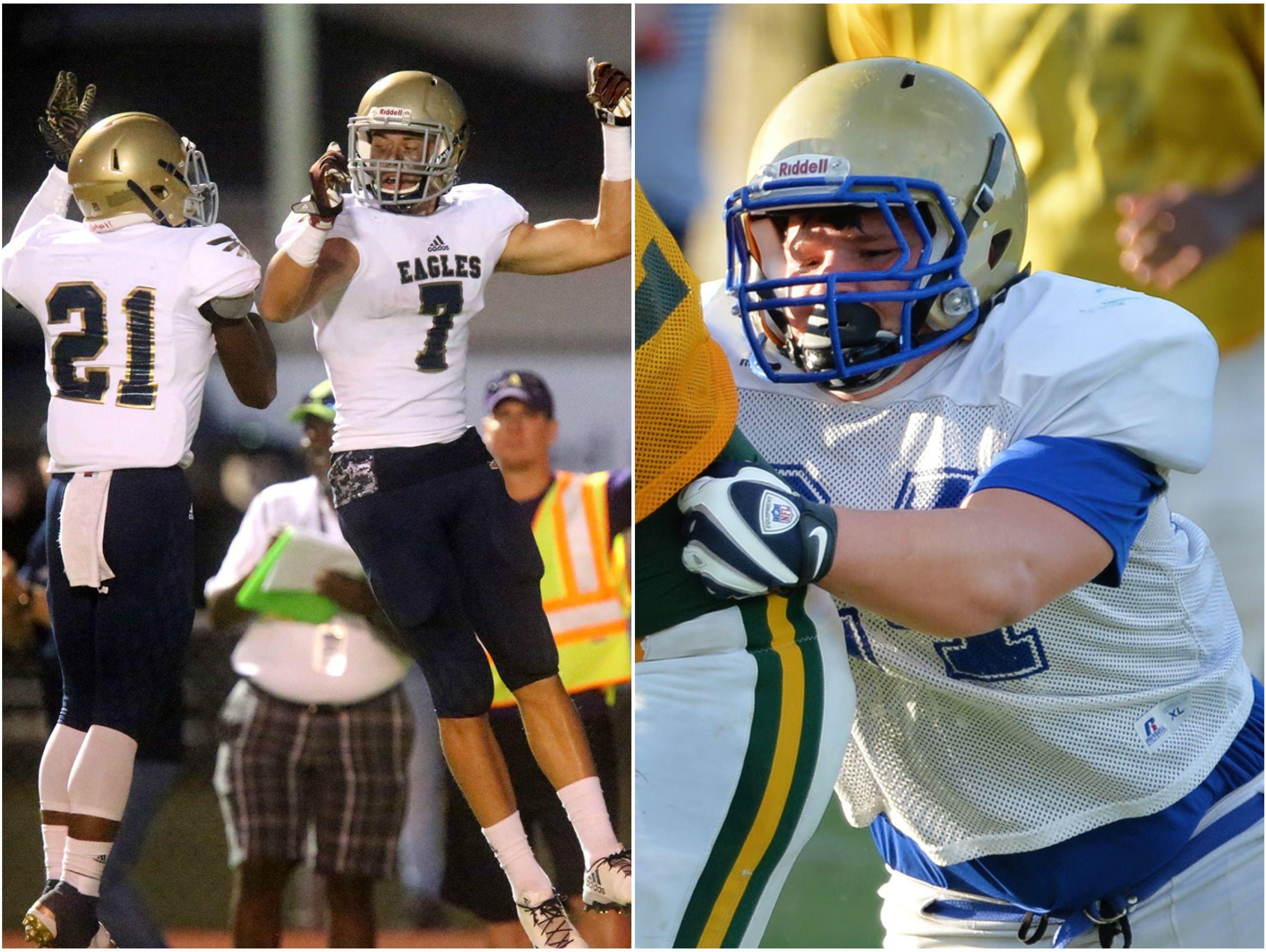 Independence's Troy Henderson and Landon Guidry (left) and Shelbyville's Cody Martin (right)