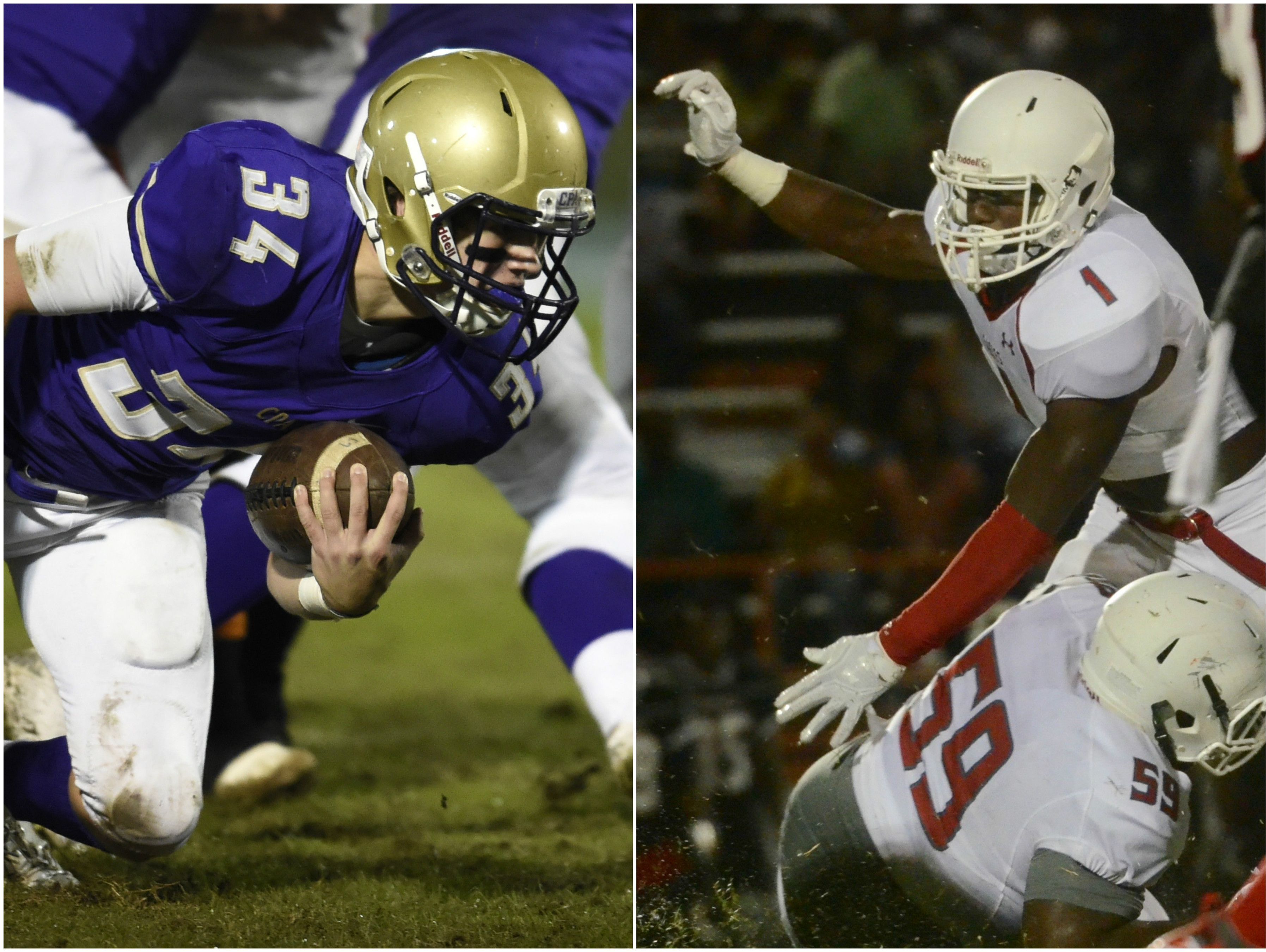 CPA running back James Deaton (left) and East Nashville linebacker Jacob Phillips (right)