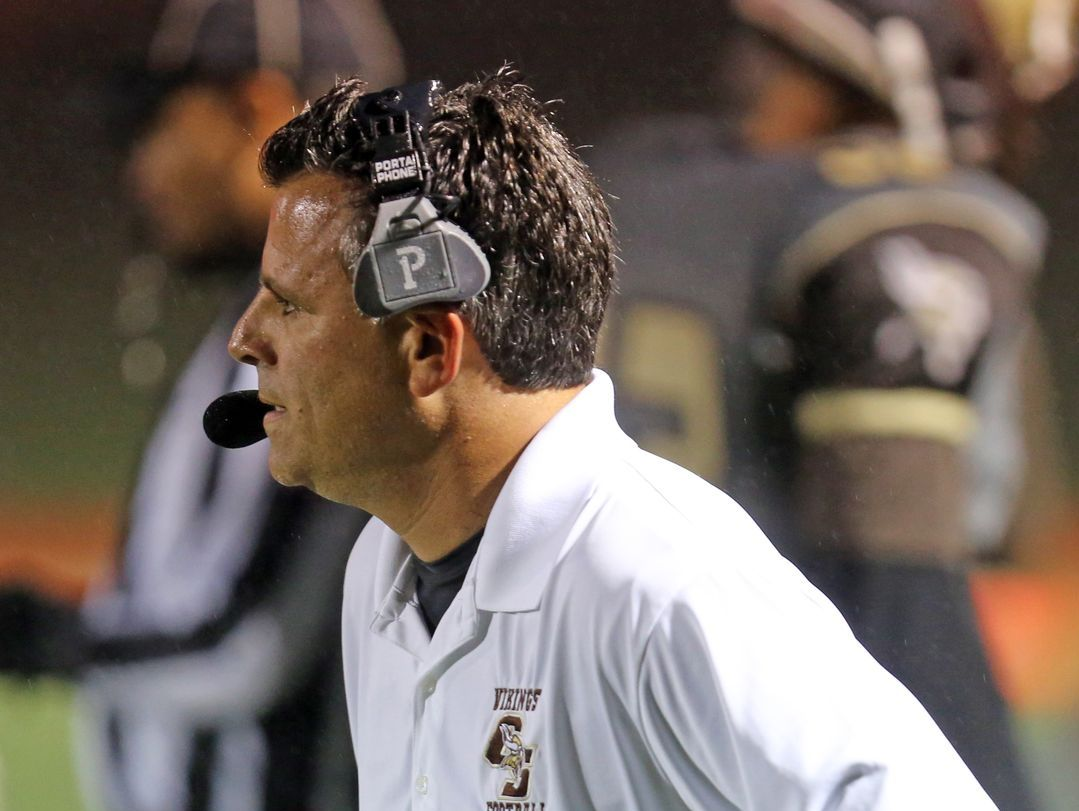 Clarkstown South coach Mike Scarpelli pictured during his team's 39-18 loss to New Rochelle at Clarkstown South High School in West Nyack on Sept. 30, 2016.