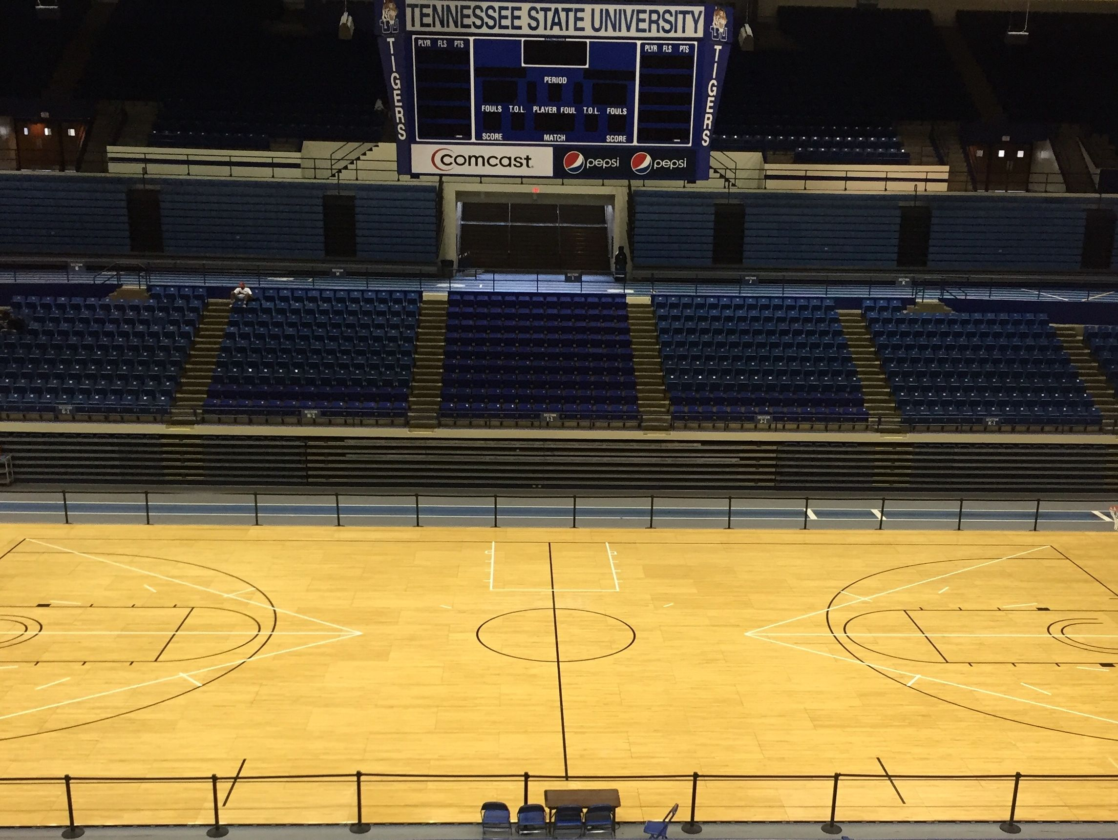 TSU's men's and women's basketball teams will start the season playing on a temporary court with no signage after their regular court was ruined by rain, which came through a hole in Gentry Center created after a lightning strike.
