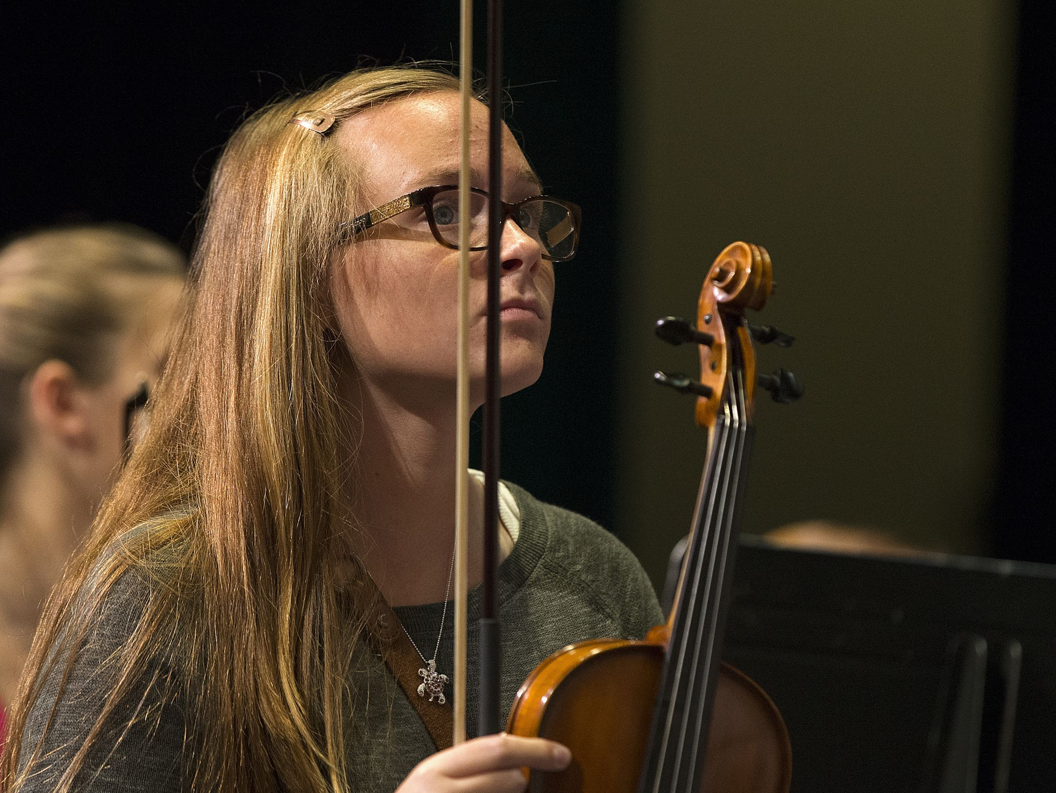 Caroline Kavanaugh rehearses for an orchestra concert during the school day at Perry Meridian High School, Tuesday, October 4, 2016.