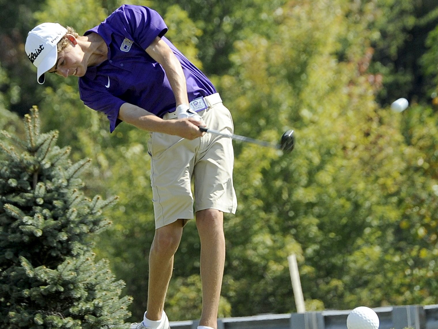 CPA's A.Jacks Green hits his tee shot on hole No. 10. Green shot 71 on Wednesday to help the Lions win the Class A-AA state title.