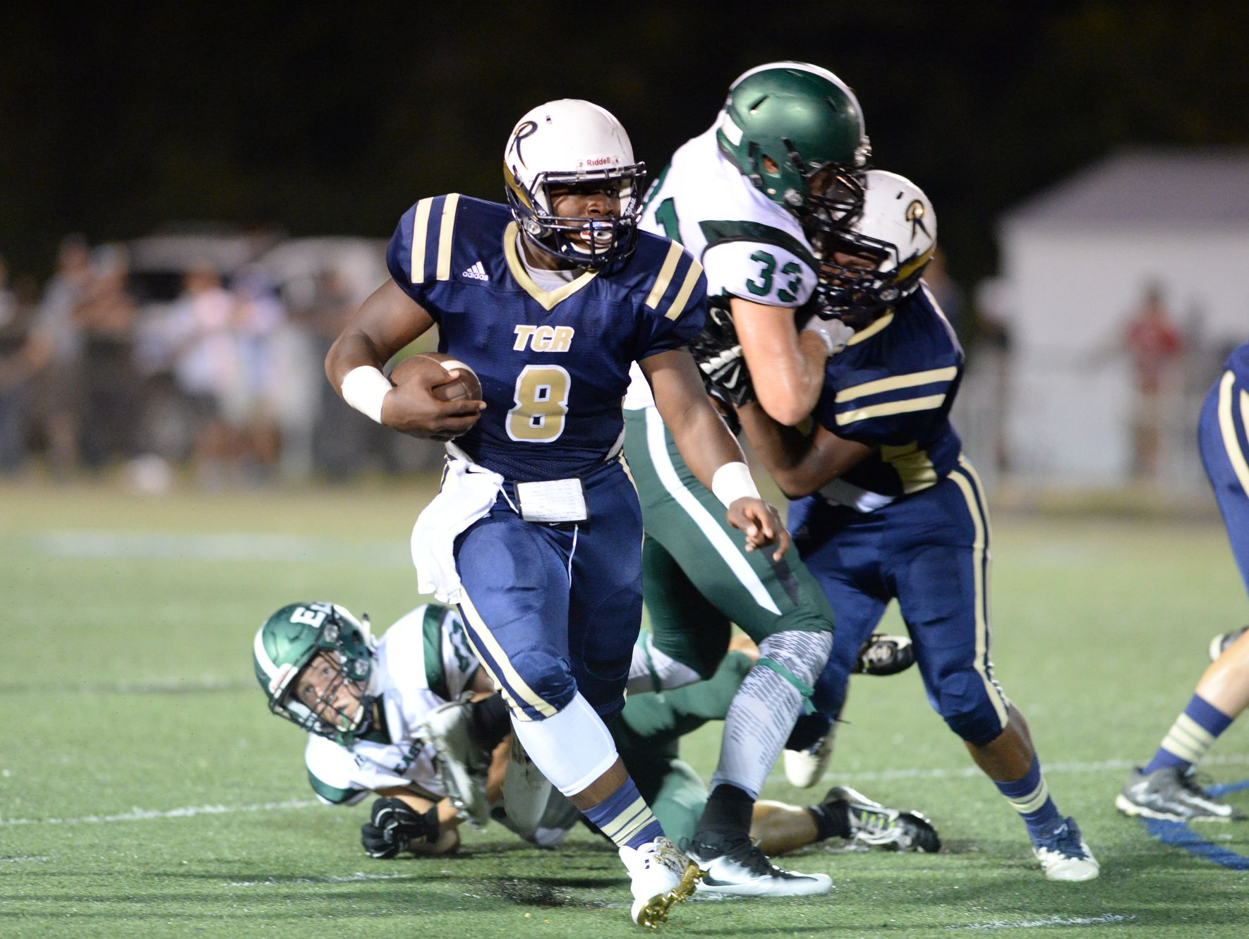 Lejuan Rush (8) is the top rusher for the Roberson football team.