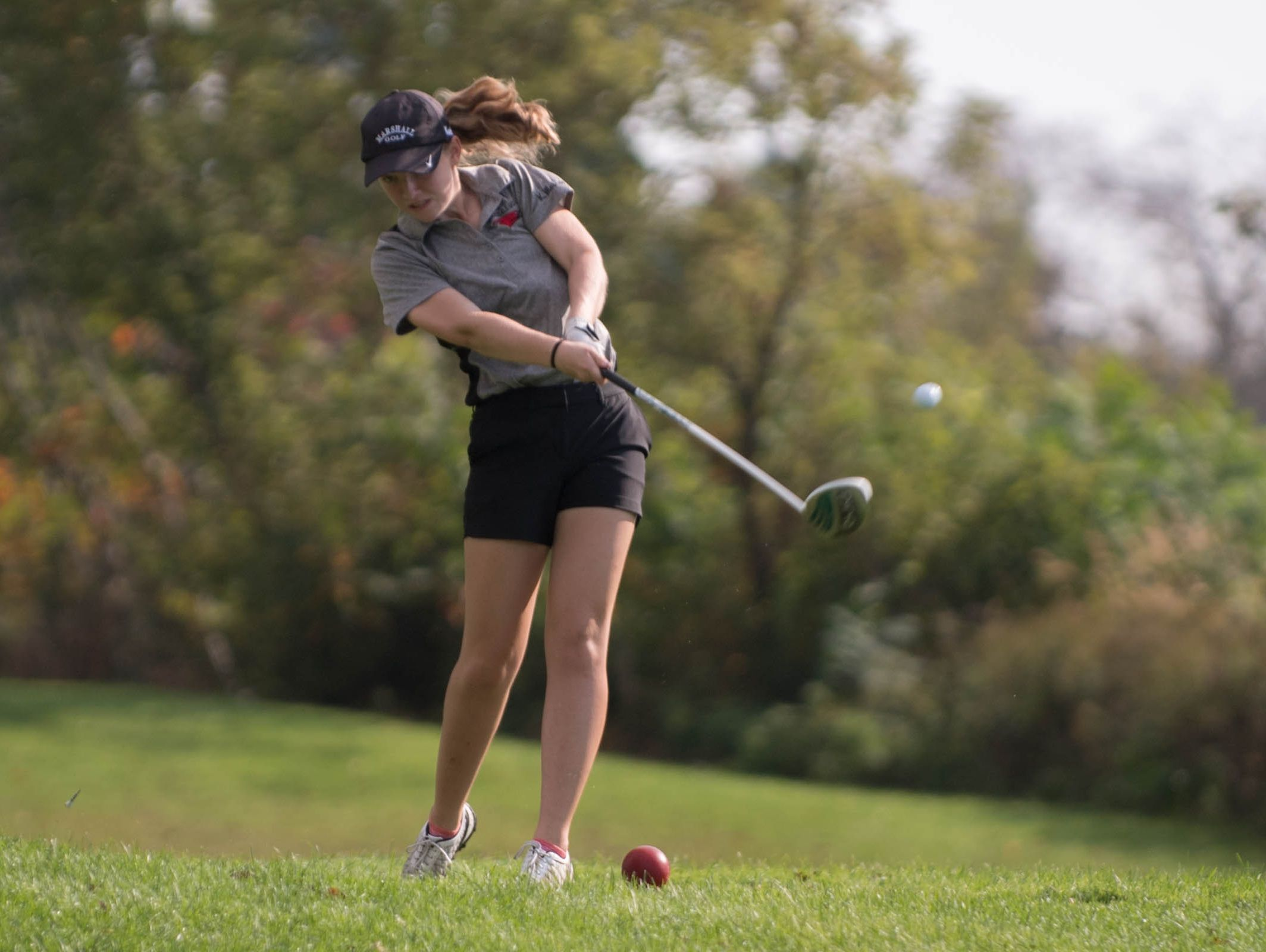 Marshall freshman Karlee Malone during regional tournament action at Marshall Country Club on Thursday.