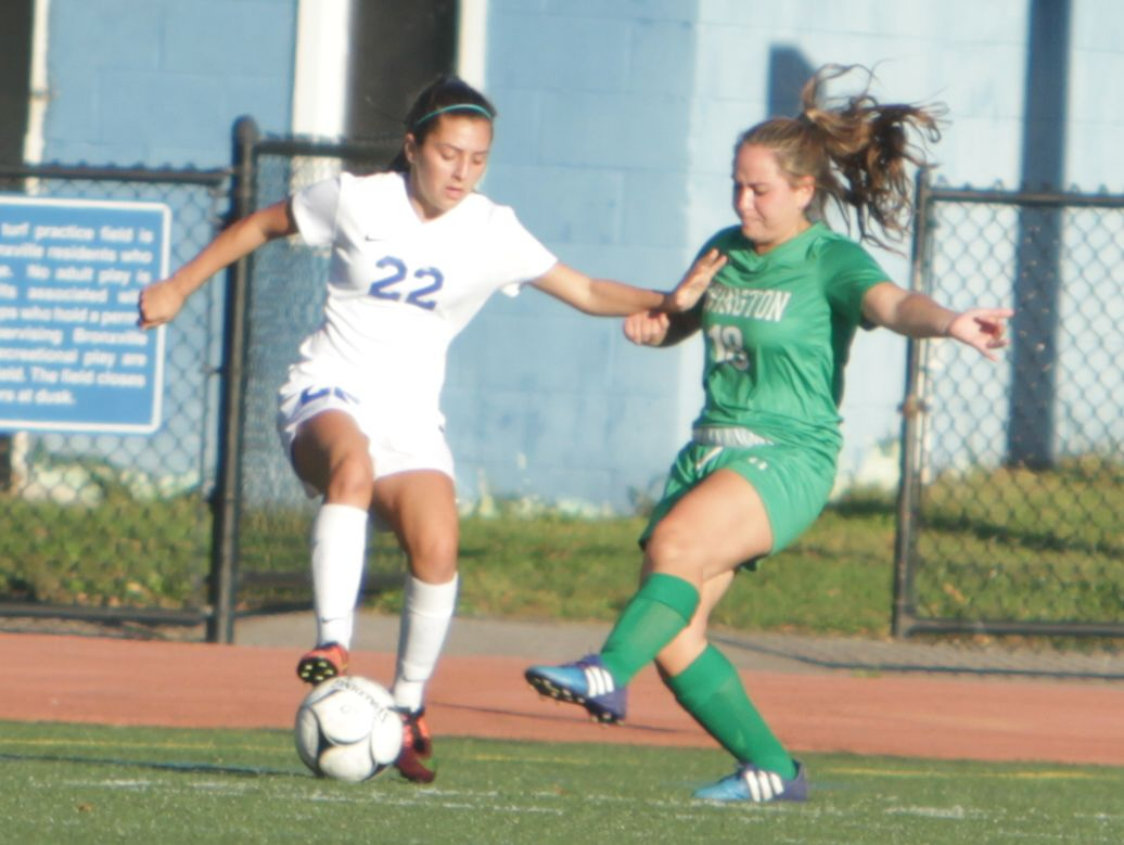 Bronxville's Alex Doukas attempts to make a move past Irvington's Natalie Aronson during a Section 1 girls soccer game between Bronxville and Irvington at Bronxville High School on Thursday, Oct. 6th, 2016. Bronxville won 4-3.
