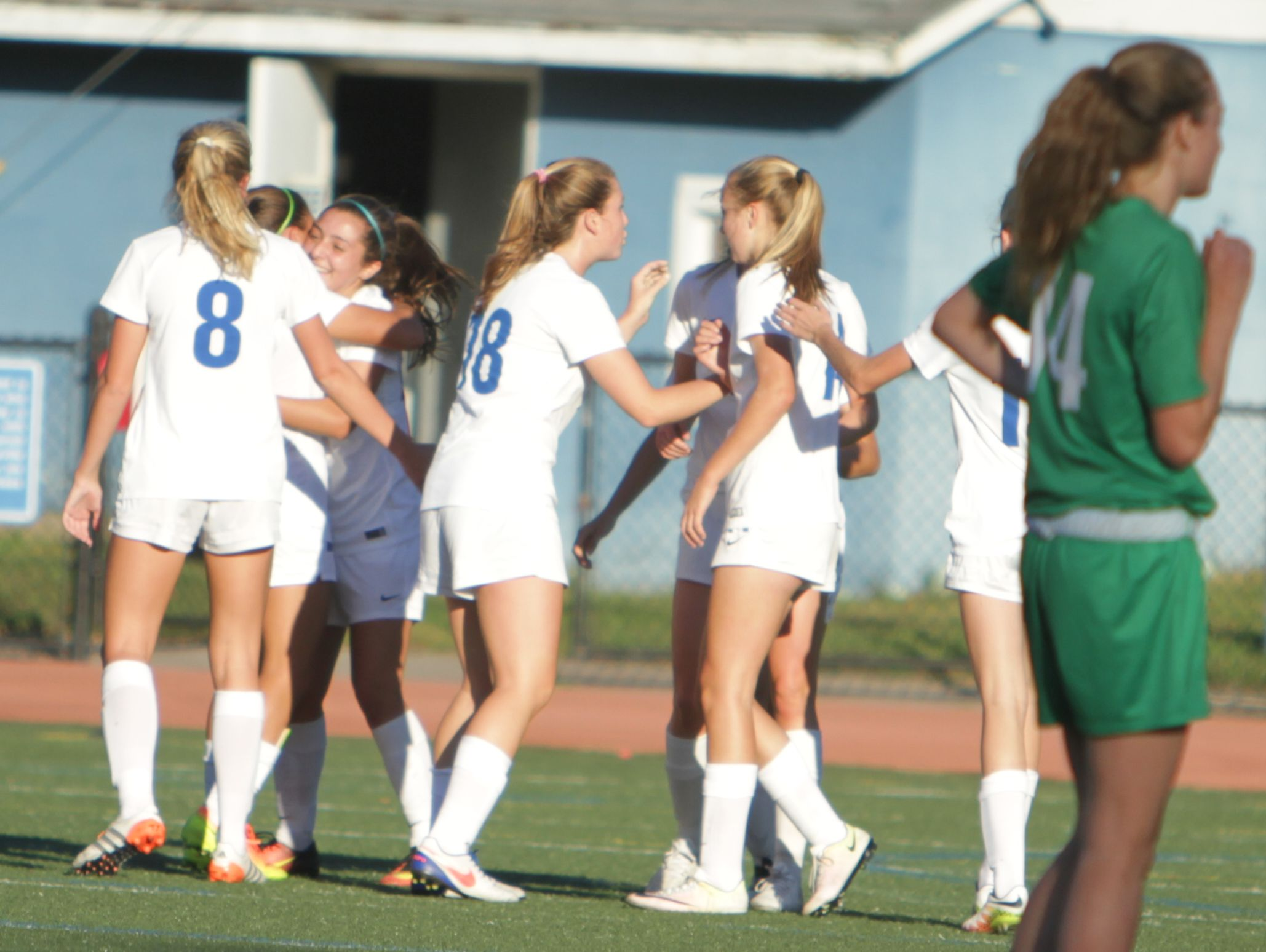 Bronxville celebrates after a first-half goal from Alex Doukas during a Section 1 girls soccer game between Bronxville and Irvington at Bronxville High School on Thursday, Oct. 6th, 2016. Bronxville won 4-3.